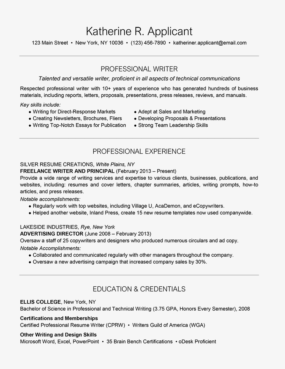 Professional Summary for Resume No Work Experience - Professional Writer Resume Example and Writing Tips