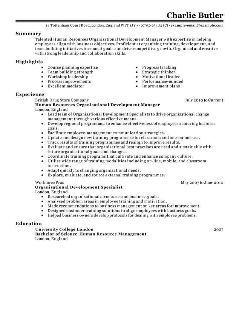 Professional Summary for Resume No Work Experience - Best organizational Development Resume Example