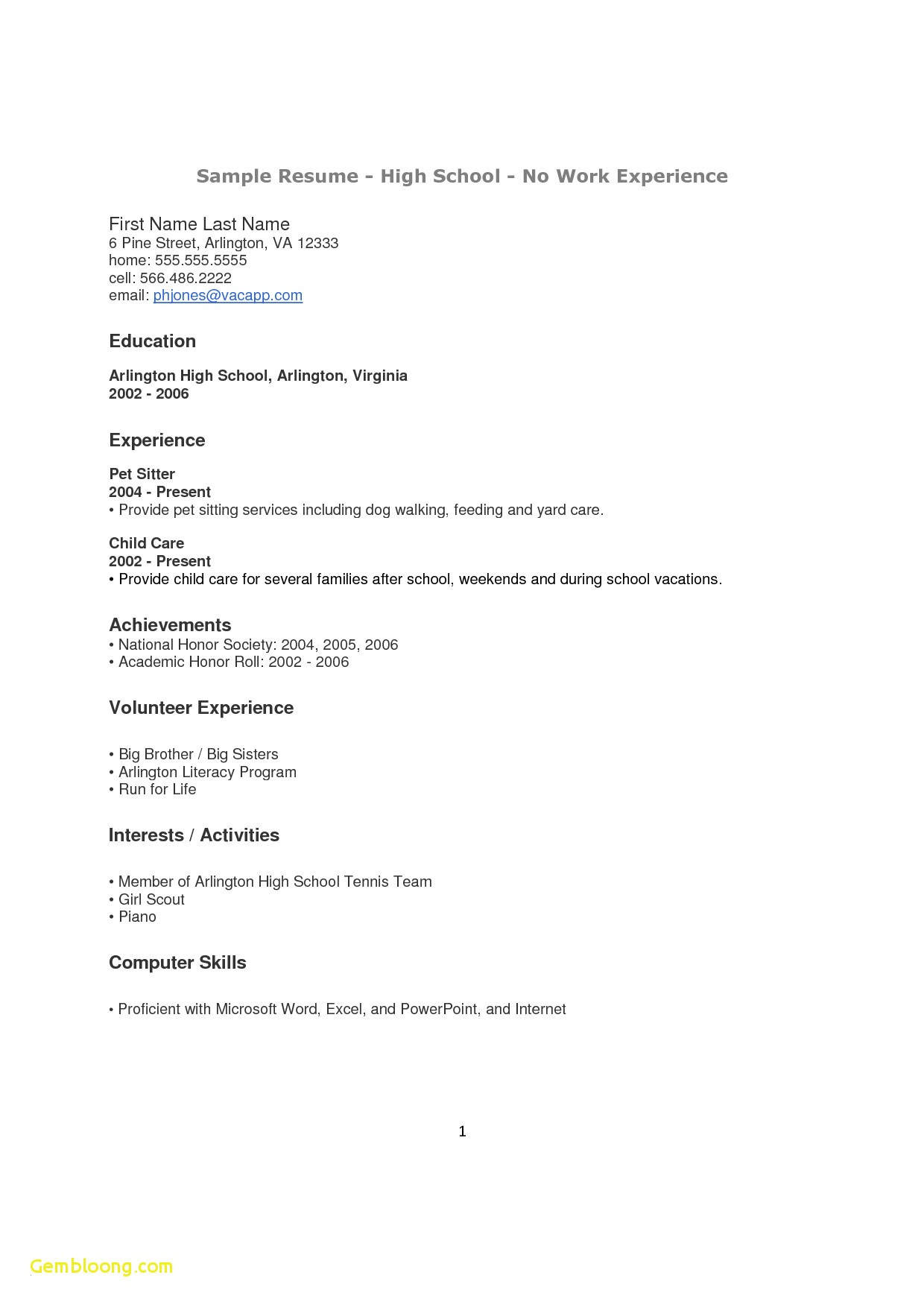 Professional Summary No Experience - Resume for High School Students with No Experience Template Best