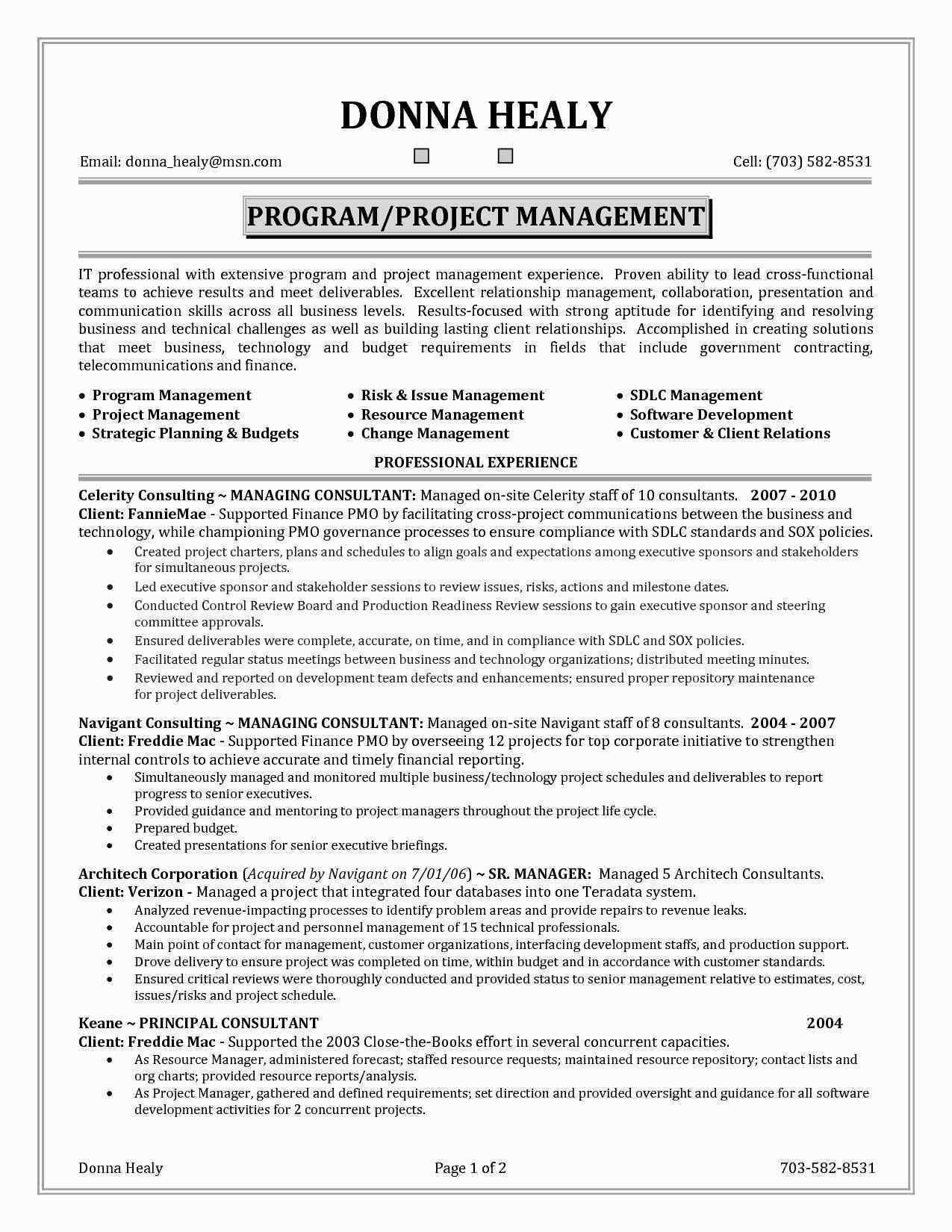 Program Manager Resume Template - Fresh Sample Resume for Project Manager