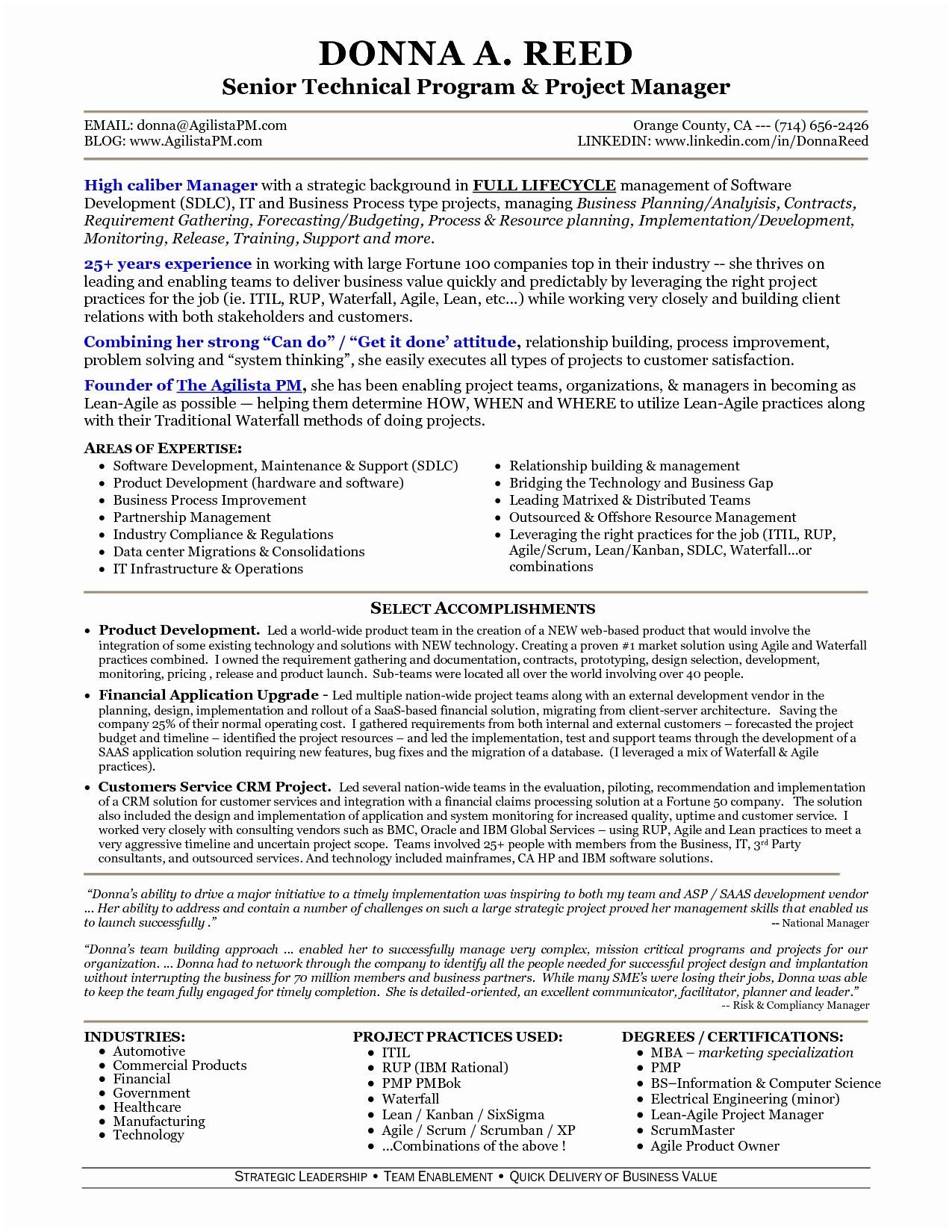 Program Manager Resume Template - Program Manager Resume Sample