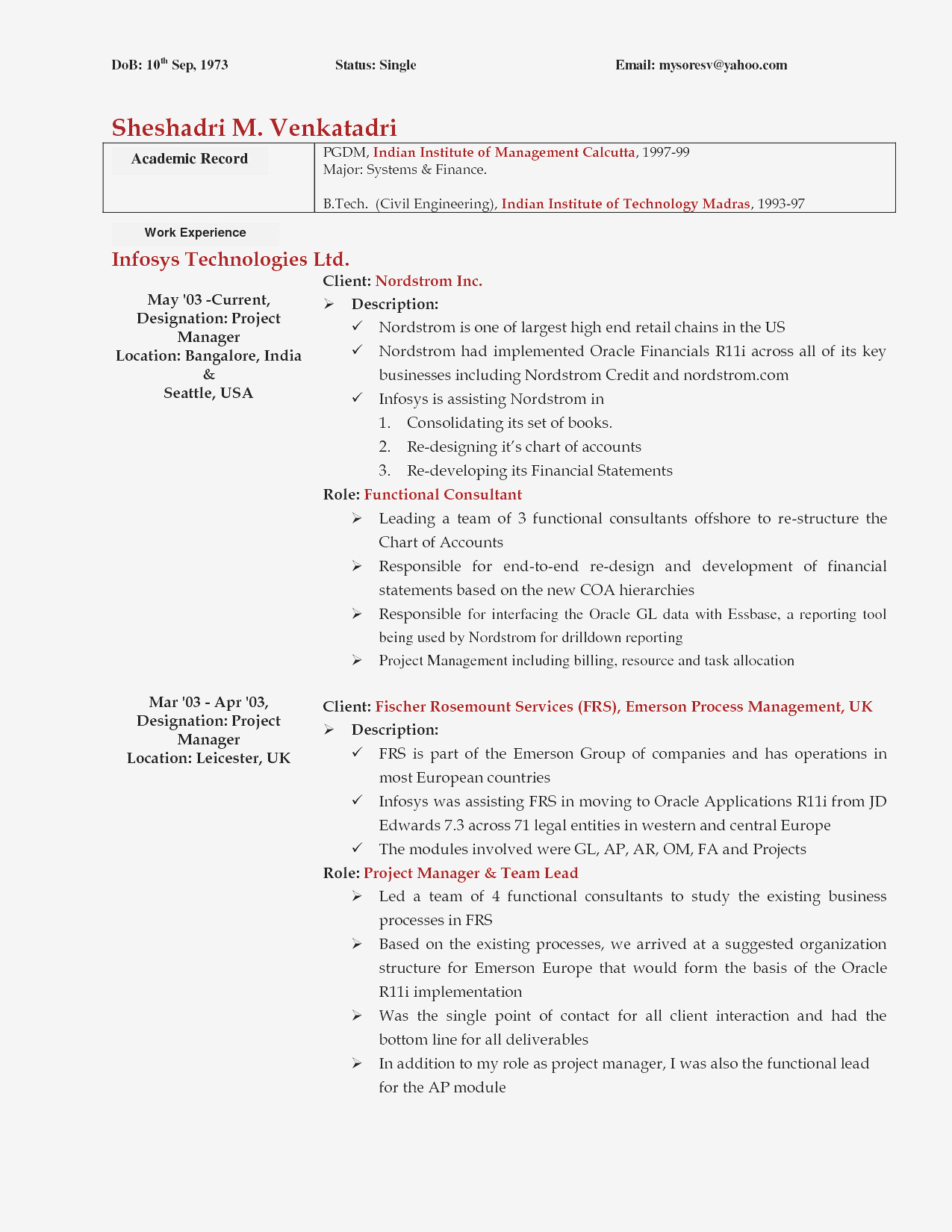 Project Management Resume Samples - Project Management Sample Resumes