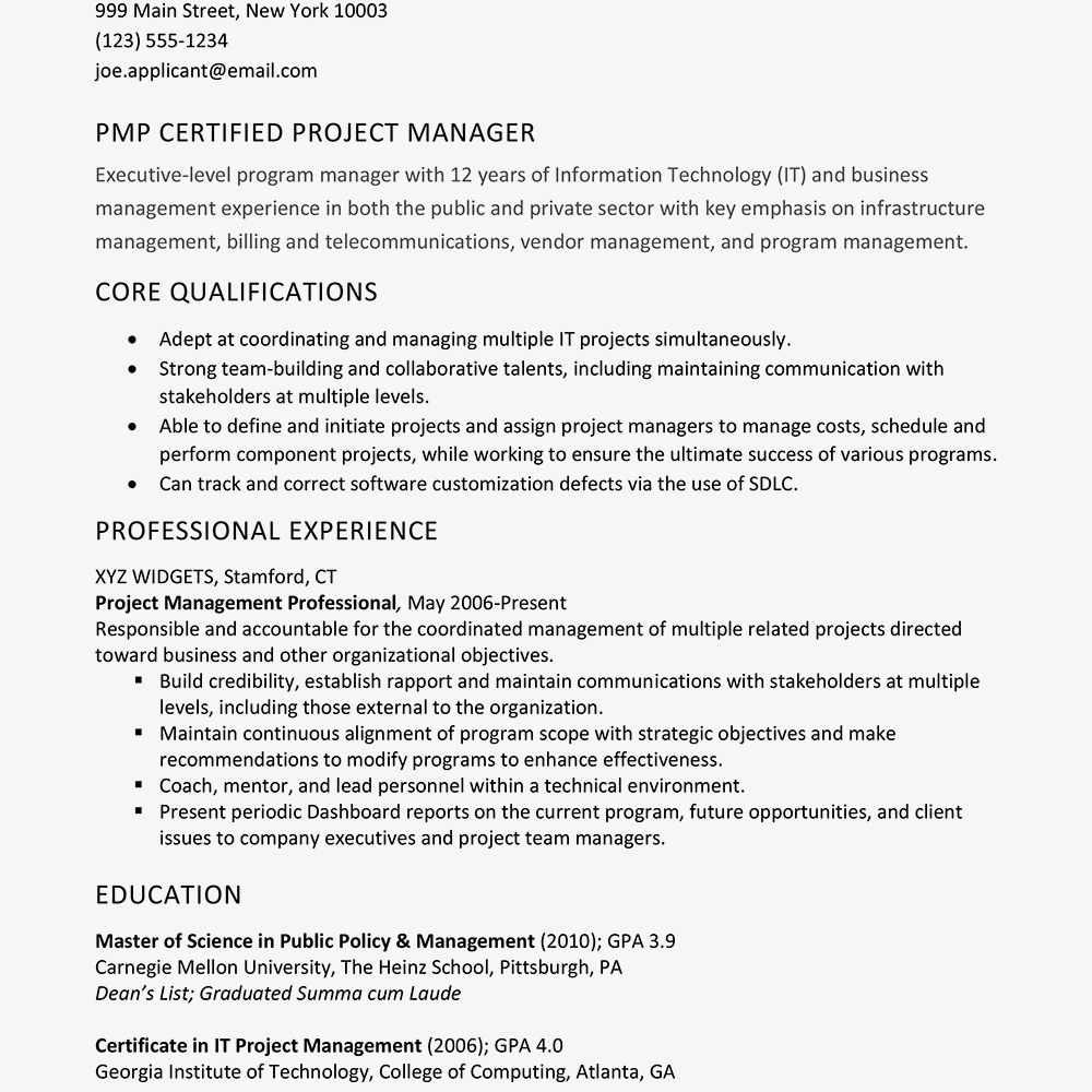 14 project management resume samples samples