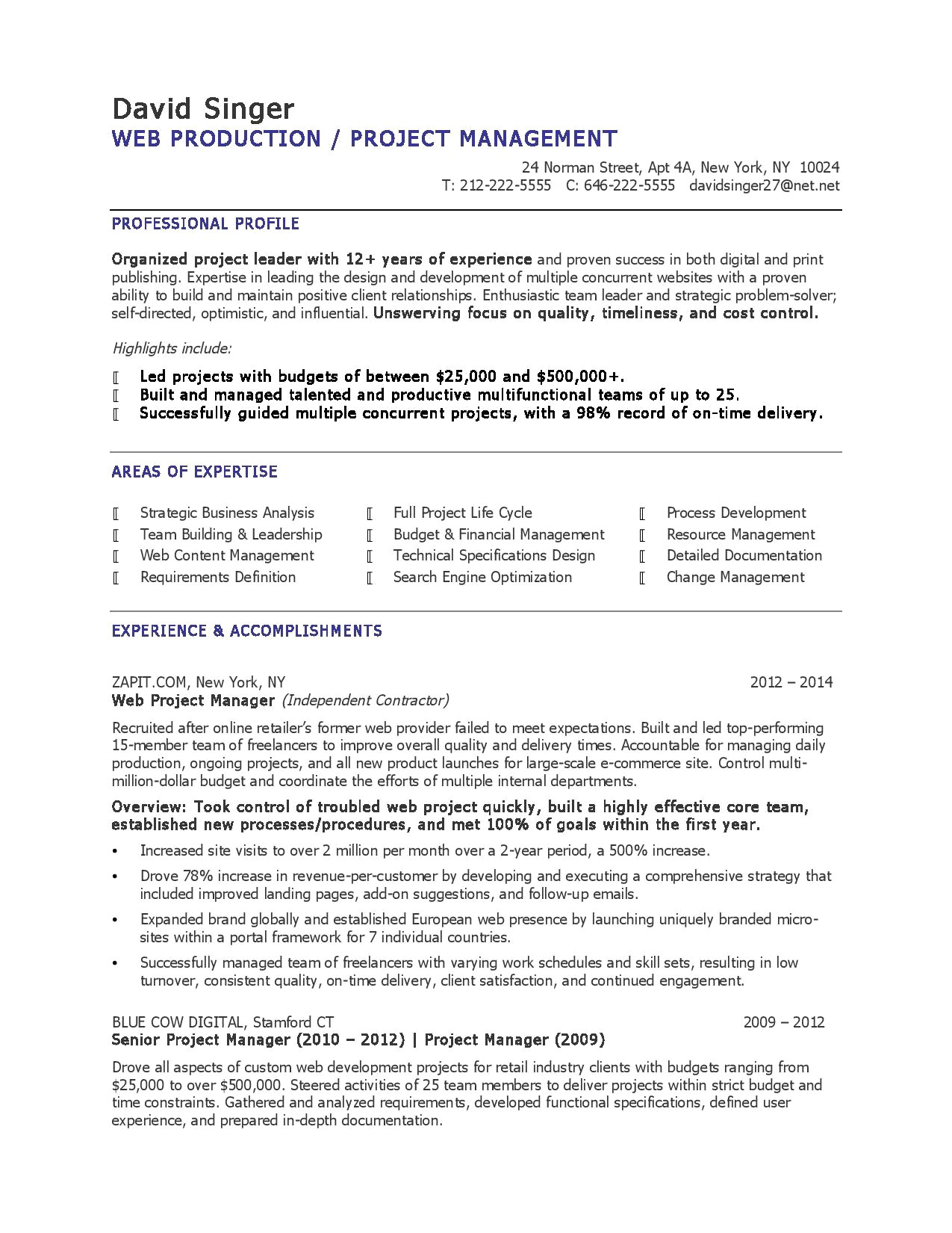 8 Project Management Resume Collection