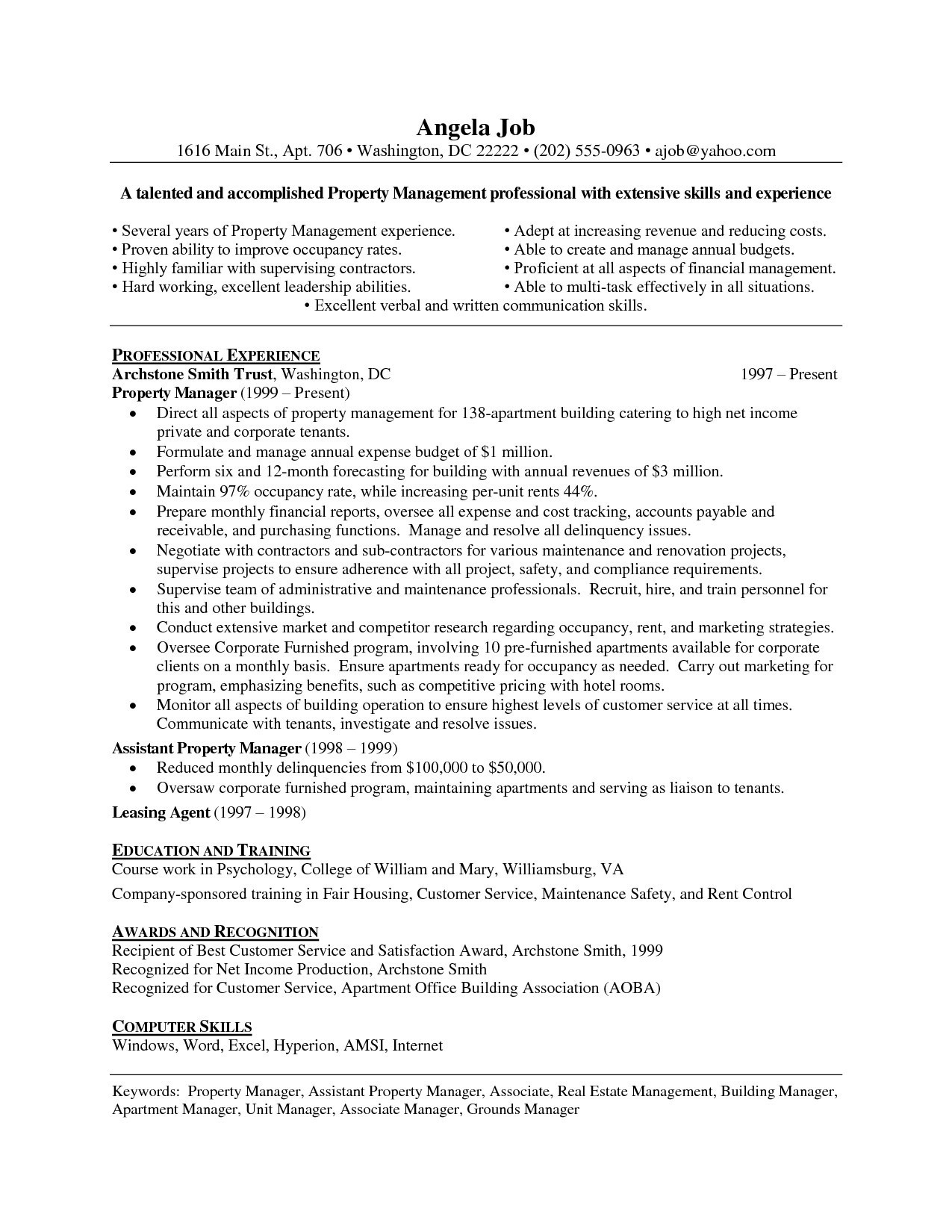 Property Manager Job Description Resume - Property Management Resume Examples Reference assistant Property