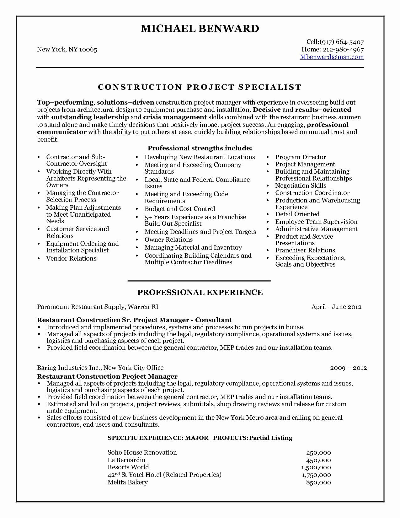 Property Manager Resume Objectives - 48 Valuable Construction Resume Objective