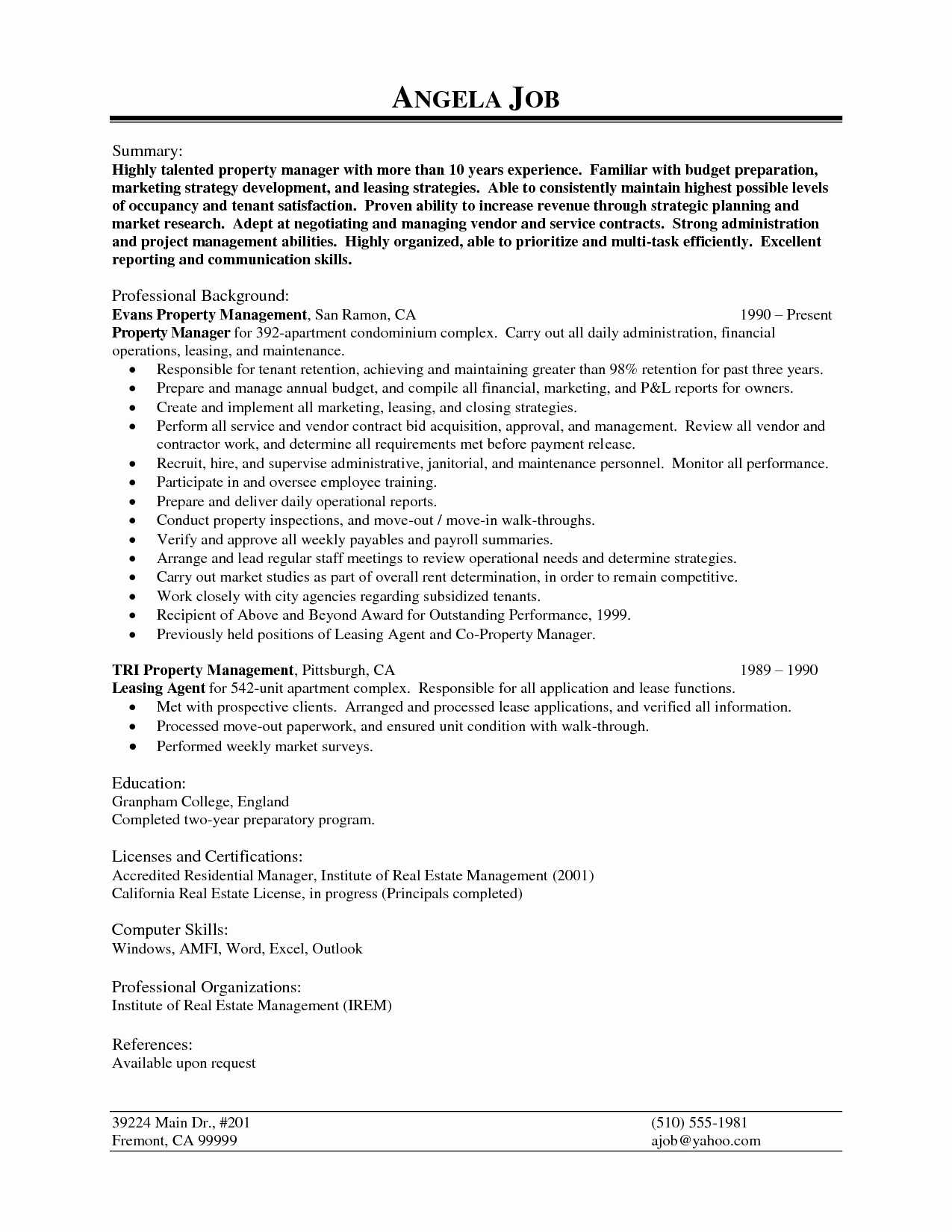 Property Manager Resume Template - Property Management Job Description for Resume Inspirational Resume