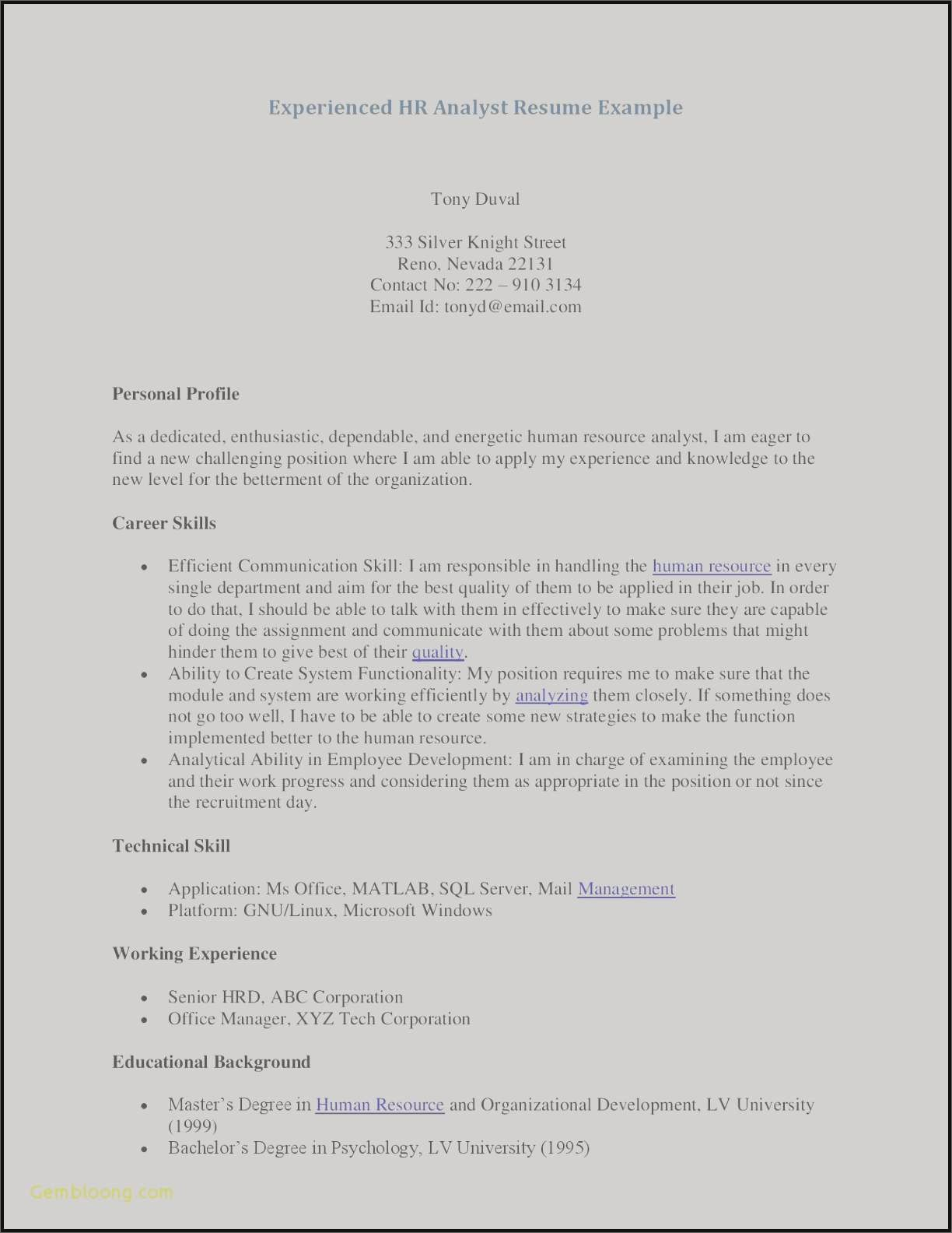 Psychology Resume - Examples Human Resources Resumes New Resume Te Awesome Examples