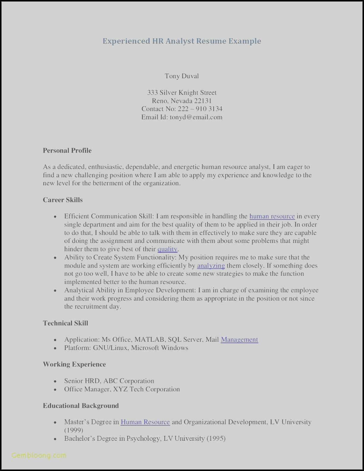 Psychology Resume - Free Curriculum Vitae – Resume Te Awesome Examples Resumes Ecologist