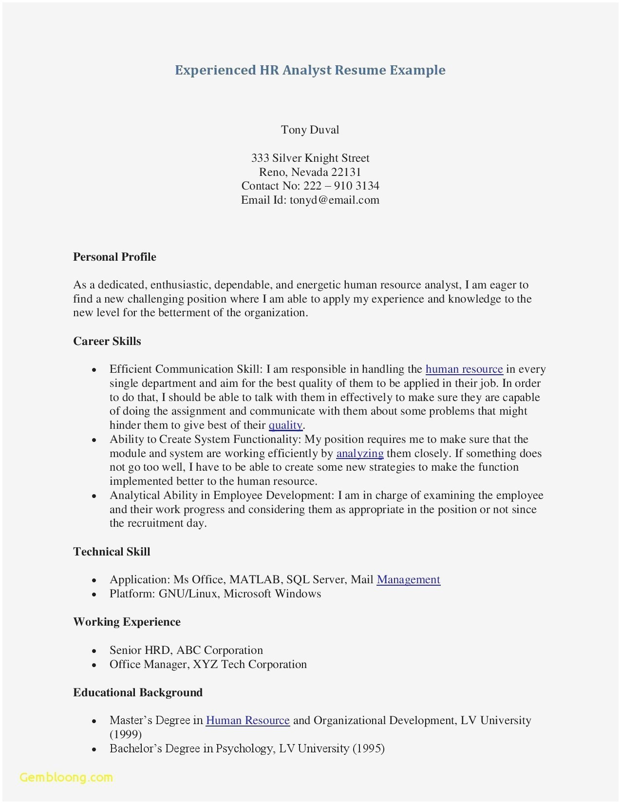 Psychology Resume Examples - Informal Resume Template Awesome Free Professional Resume Samples