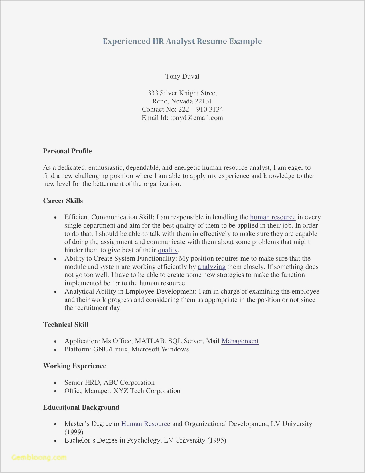Psychology Resumes Examples - Psychology Resume Templates