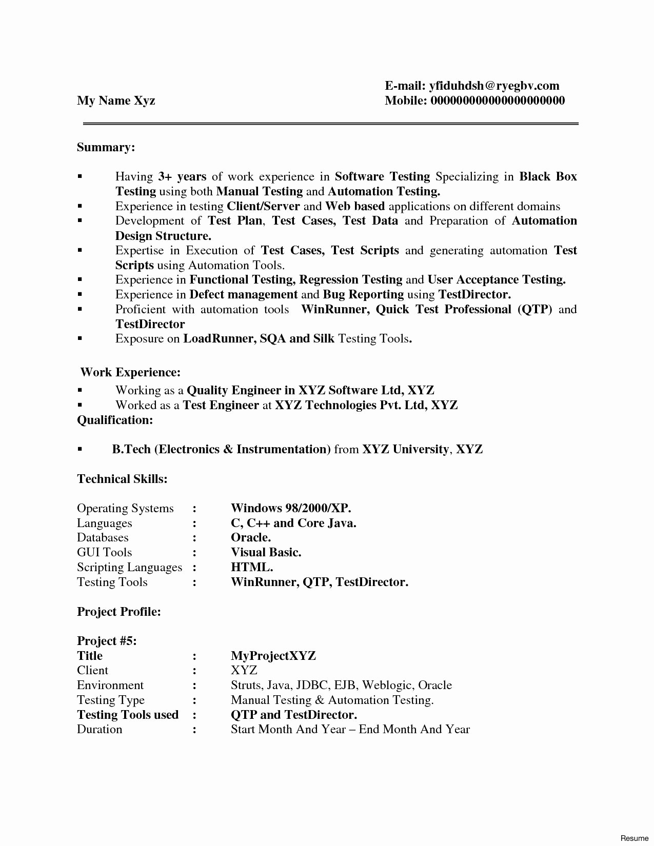 Qa Resume Template - Testing Resume Sample Inspirational Testing Resume Sample Expert