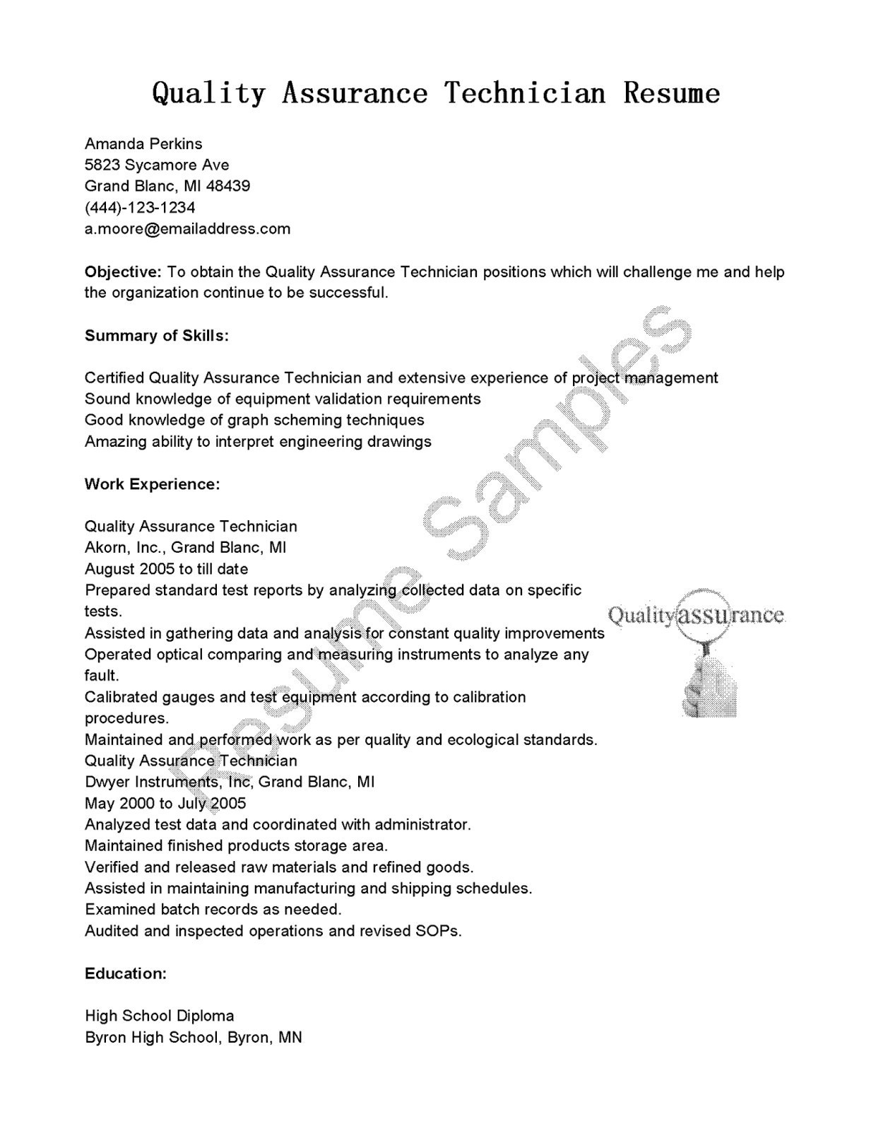 Quality assurance Resume Template - High School Sample Cover Letter New Resumes and Cover Letters