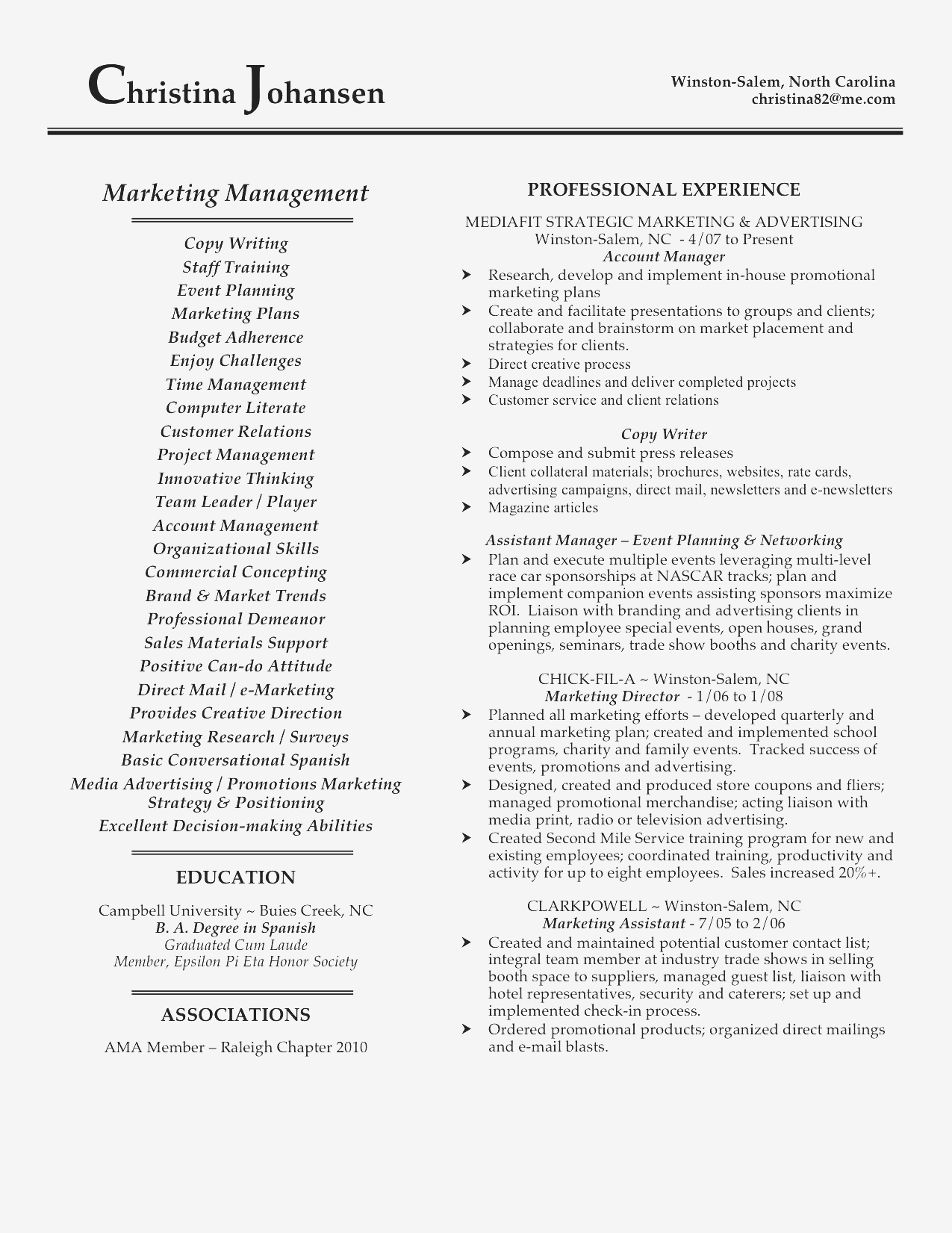 Racer Resume Template - Sales and Marketing Resume Sample