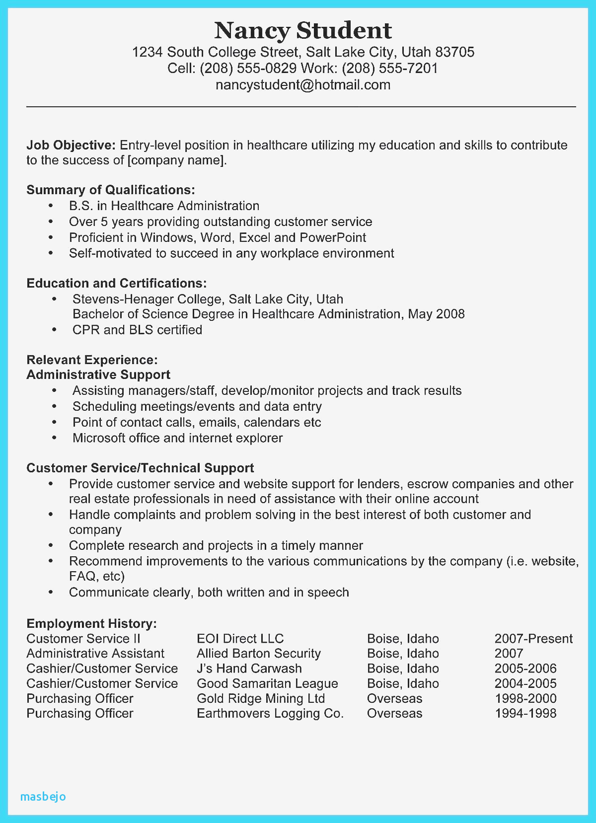 Real Estate Resumes - Real Estate Administration Sample Resume