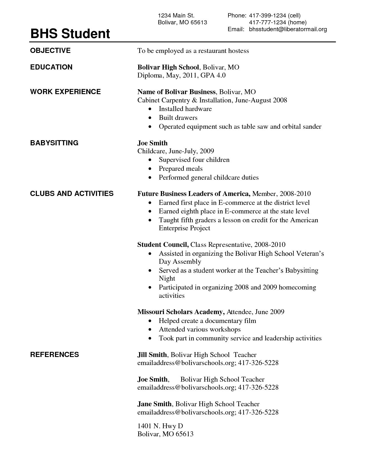 Recent High School Graduate Resume - Fresh Resume Templates for High School Students