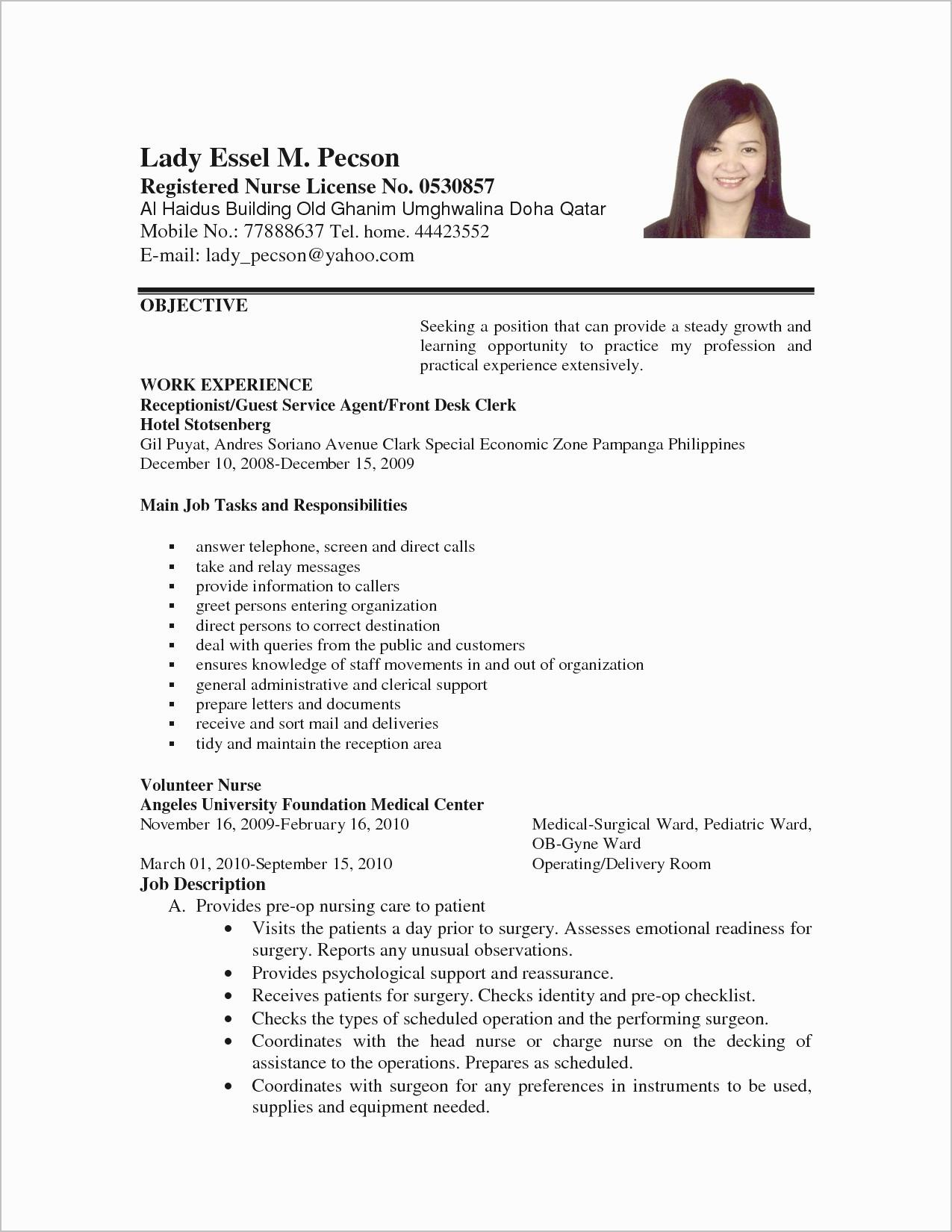Receptionist Resume Template - Disney Cover Letter Awesome Lovely Resume Pdf Beautiful Resume