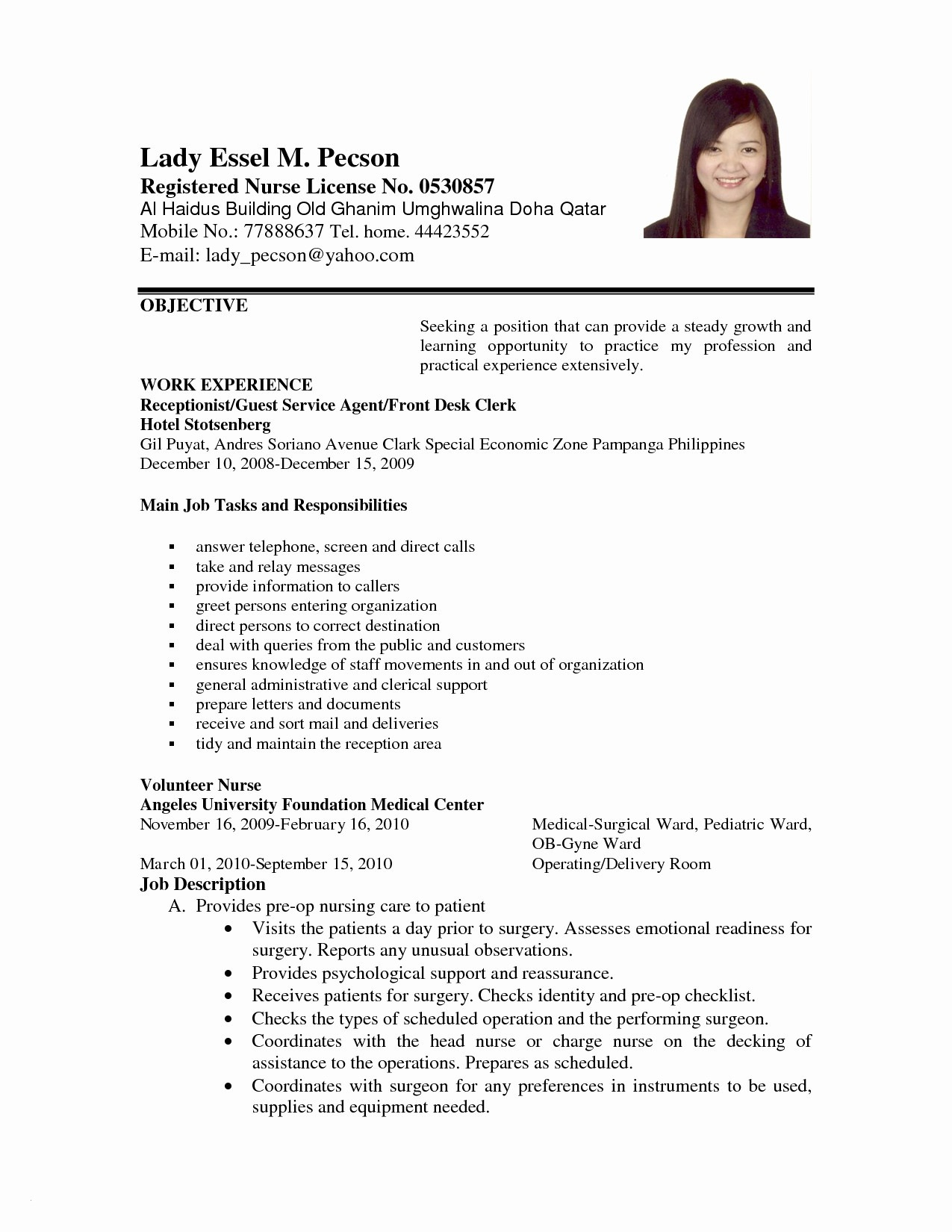 Receptionist Resume Template Free - Simple Resume form Paragraphrewriter Paragraphrewriter