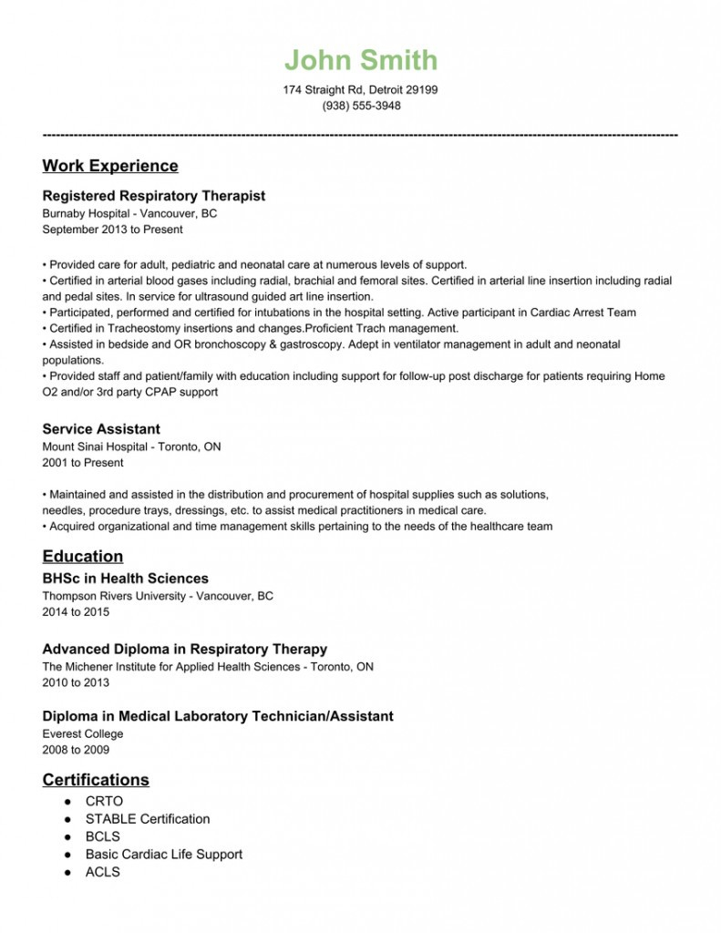 Respiratory therapist Resume Sample - Respiratory therapist Resume Sample Best 50 Best Respiratory