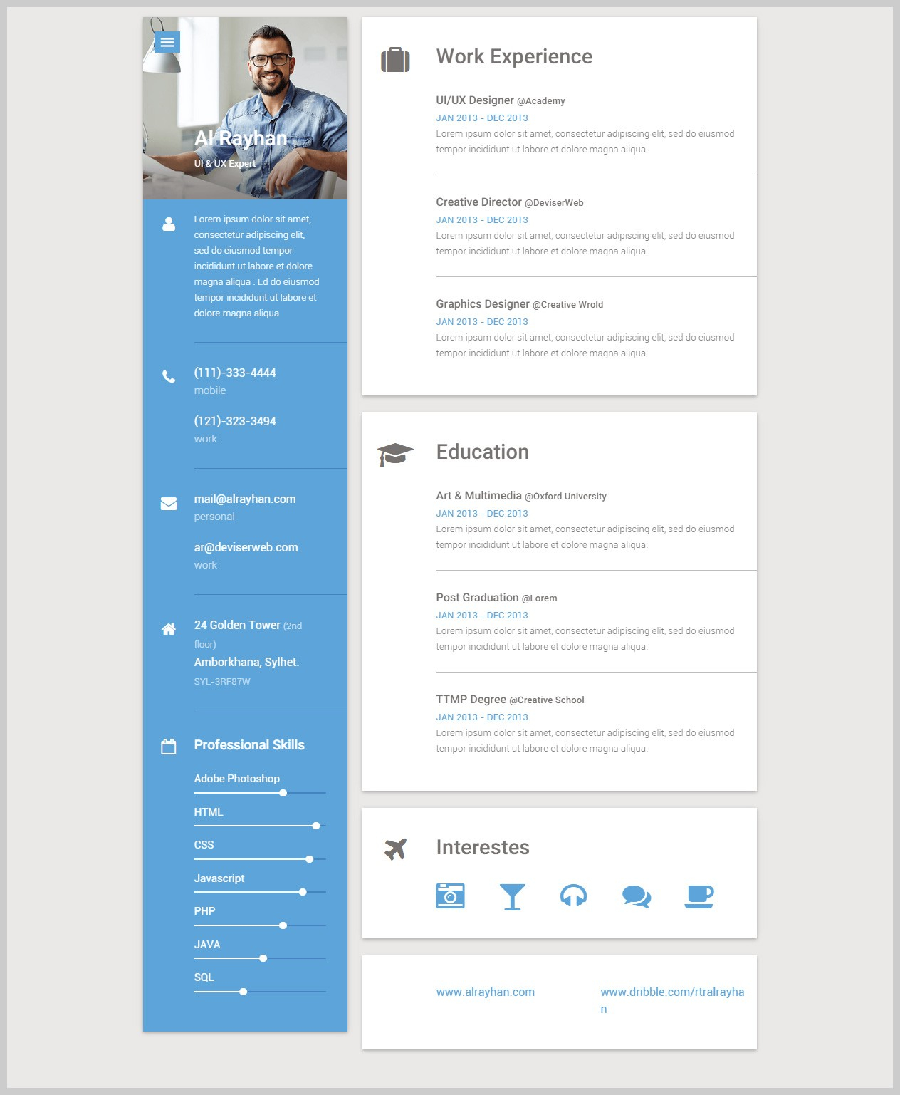 Responsive Resume Template - top HTML5 Resume Template Resume Ideas