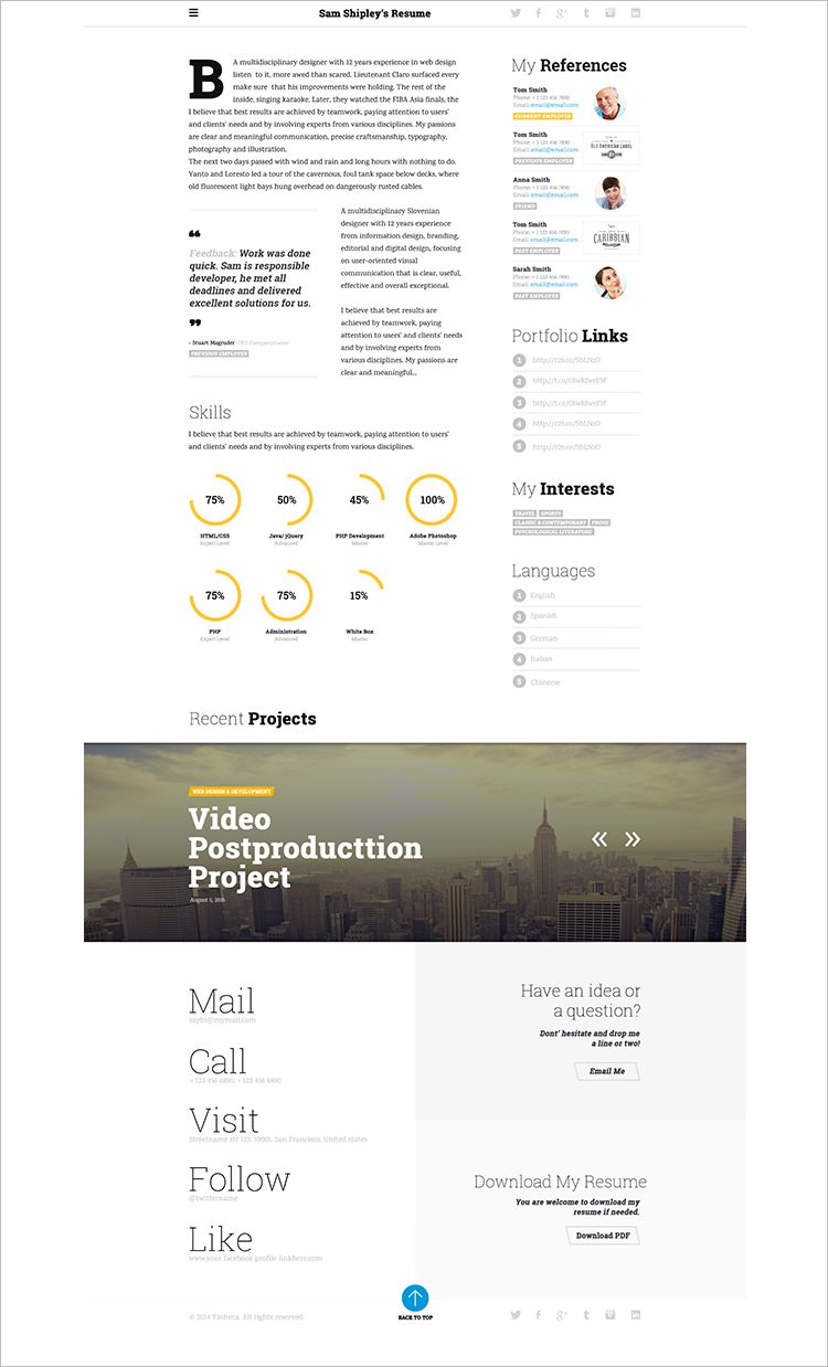 Responsive Resume Template Free Download - 41 HTML5 Resume Templates Free Samples Examples format Download