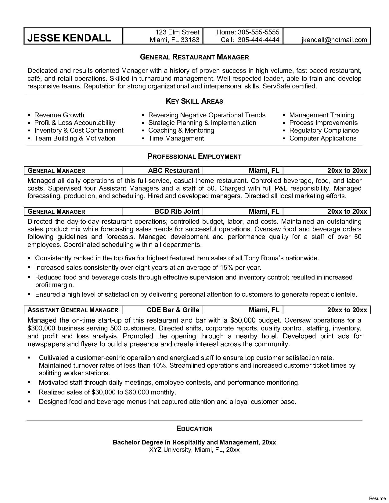 Restaurant General Manager Resume - Restaurant General Manager Resume Awesome General Manager Resume