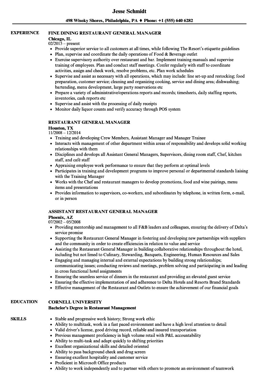 Restaurant General Manager Resume - Restaurant General Manager Resume New 77 Awesome Hotel General