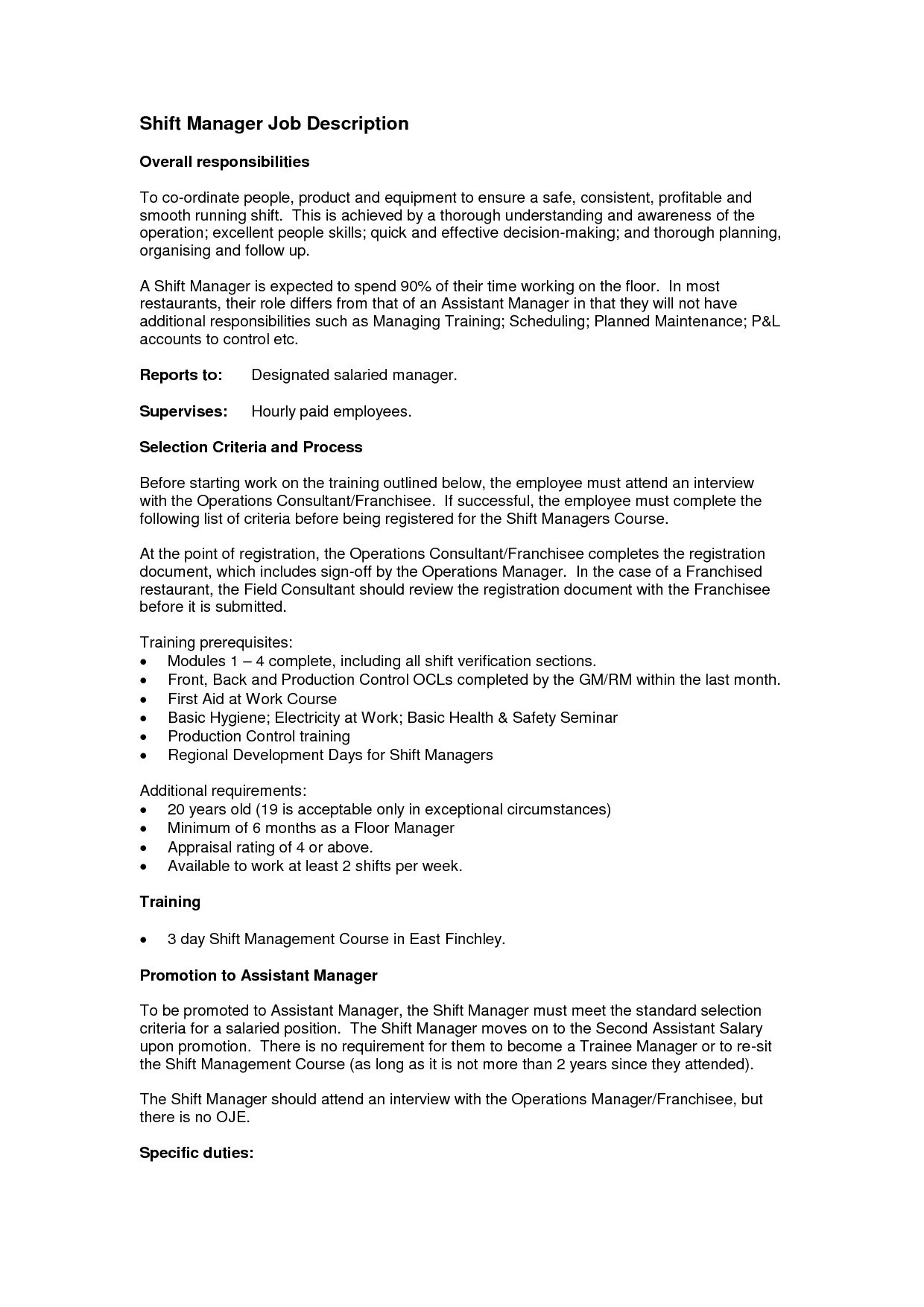 Restaurant Manager Resume Duties - Operations Manager Cover Letter Template Samples