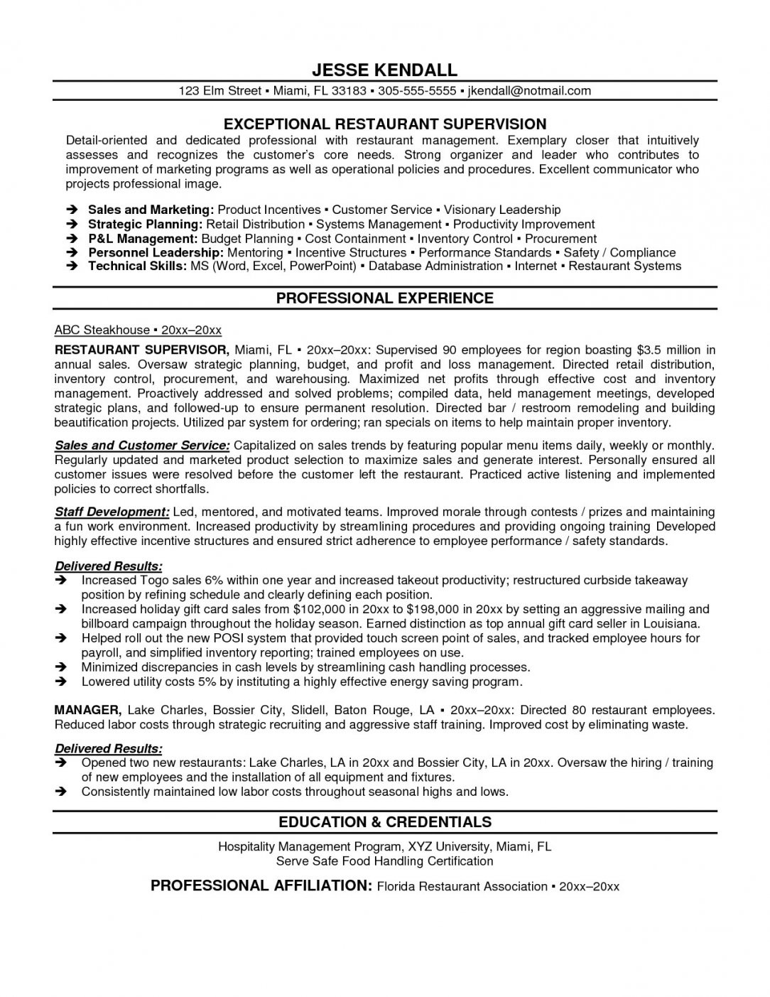 Restaurants Manager Resume - Restaurant Manager Resume Elegant Supervisor Resume Examples Free