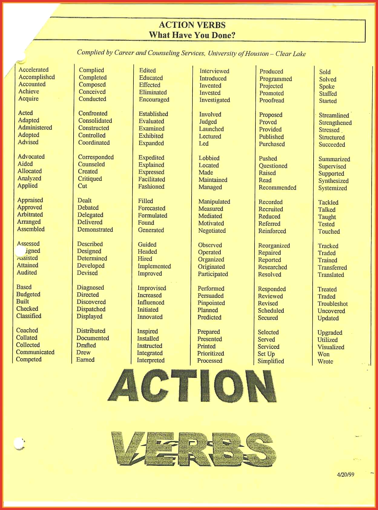Resume Action Word List - 49 Unbelievable Action Words for Resume