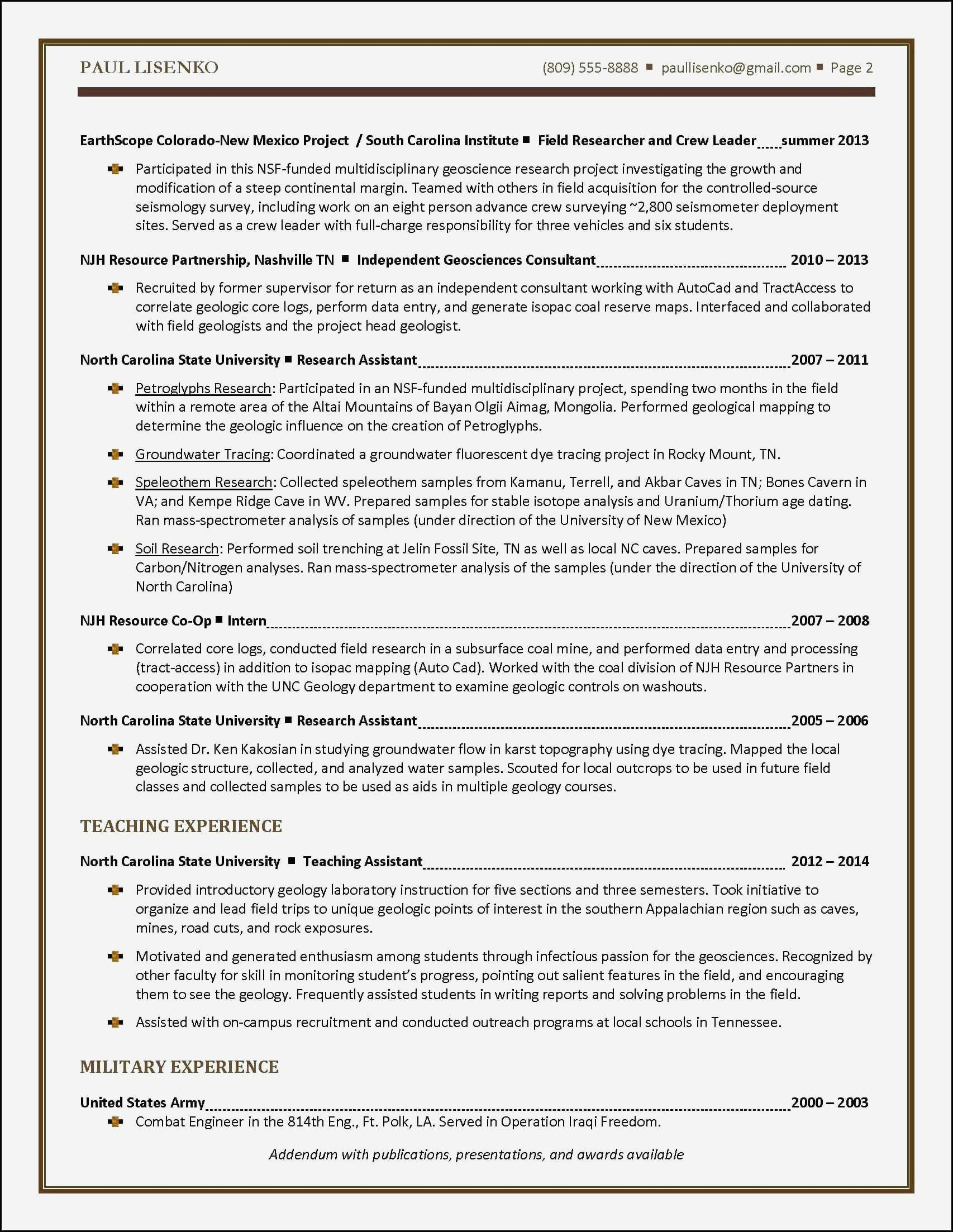 Resume Addendum Template - Geologist Resume Template Elegant College Grad Resume Awesome