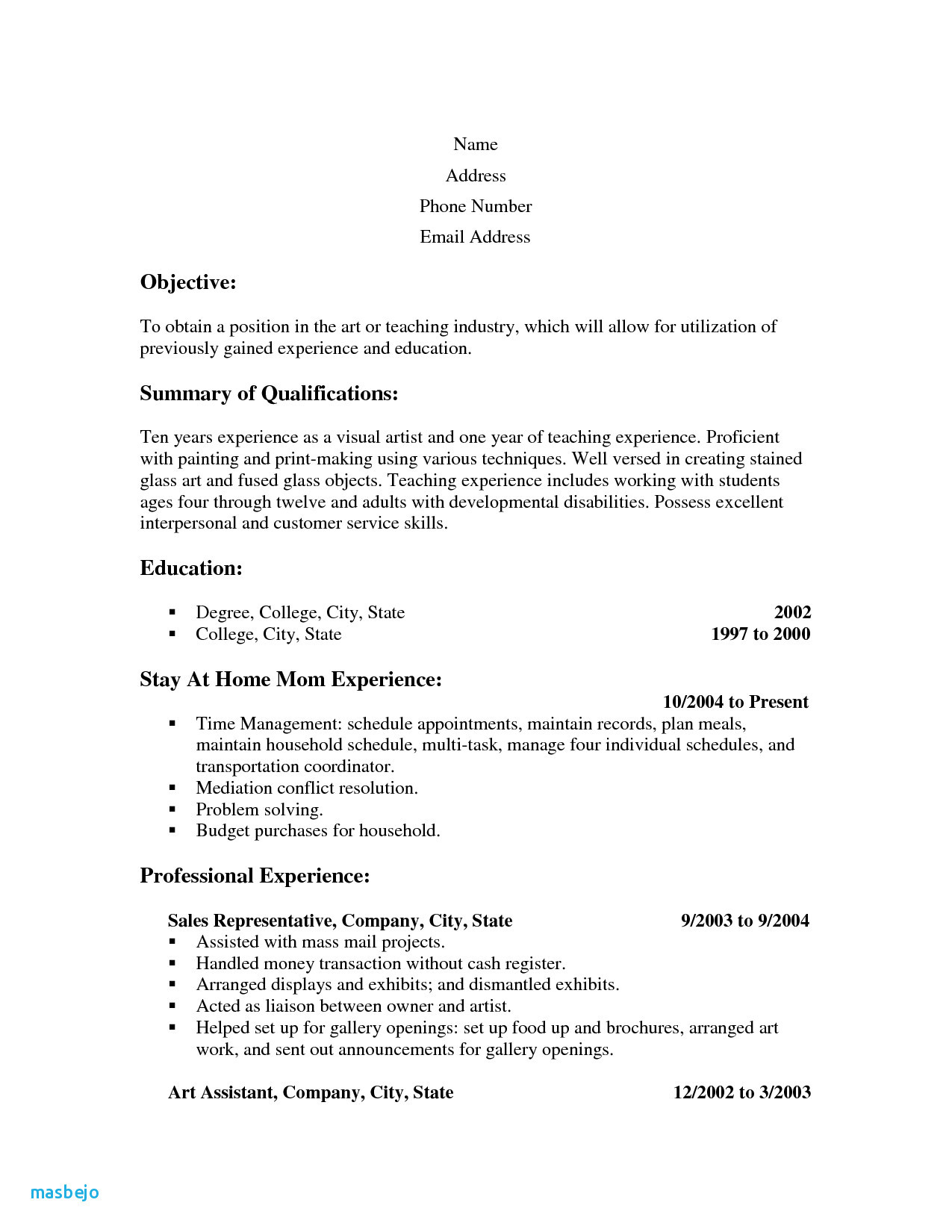 Resume Builder for Stay at Home Mom - Stay at Home Mom Resume Template Unique Stay at Home Mom Resume