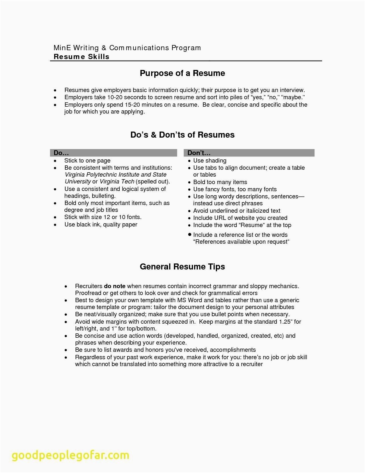 Resume Don Ts - Good Things to Put A Resume Inspirational Elegant Entry Level