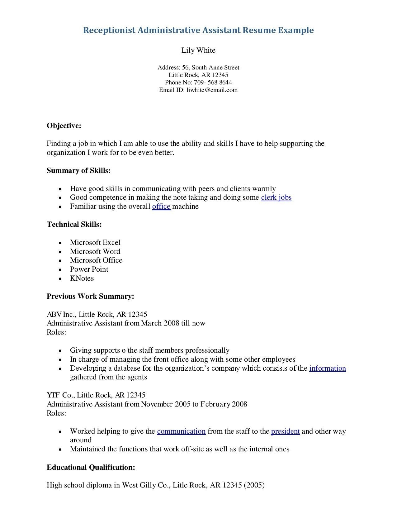 Resume Examples for Receptionist Job - Resume Objective Examples for Receptionist Save 30 Great
