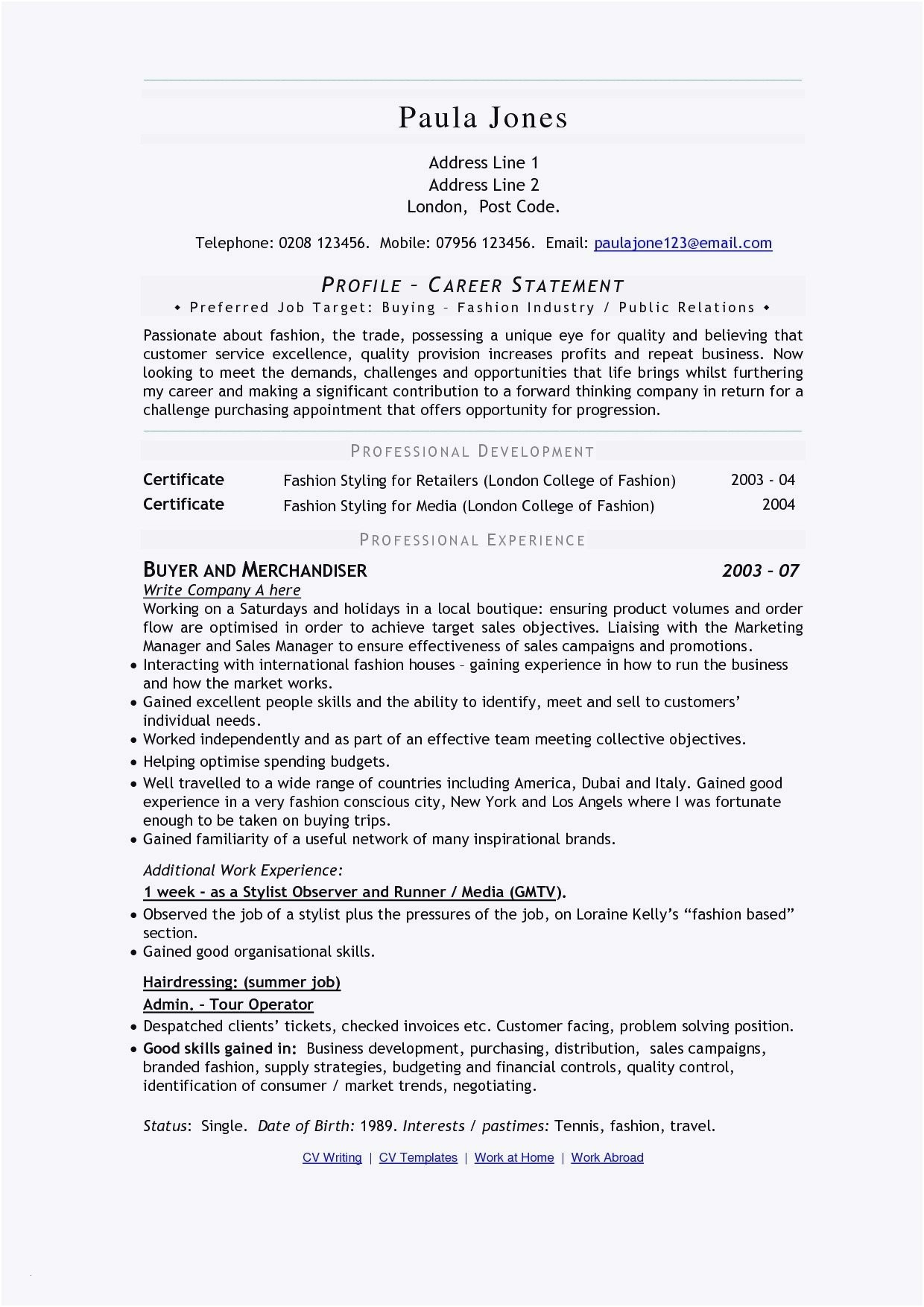 Resume for Buyer - Cv Versus Resume Awesome Nanny Resumes Nanny Resume 0d Frisch