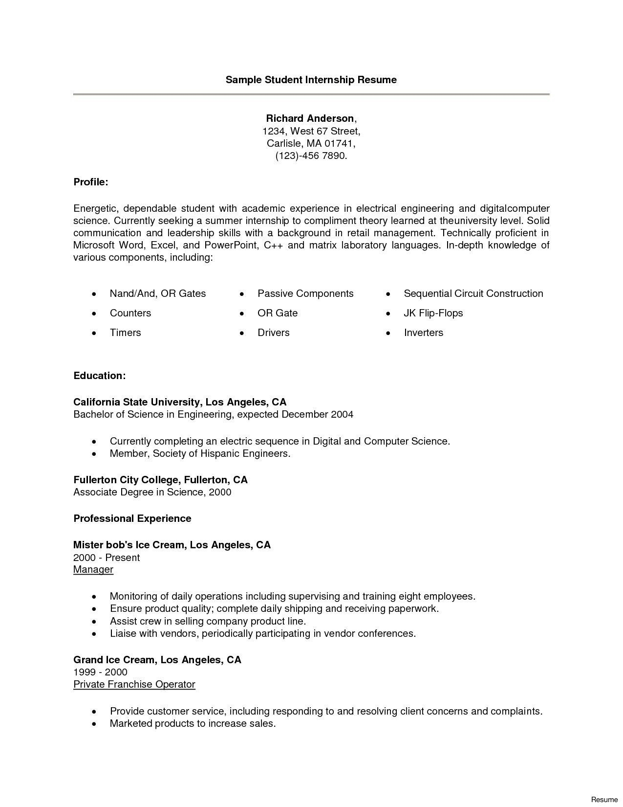 13 resume for computer science internship examples