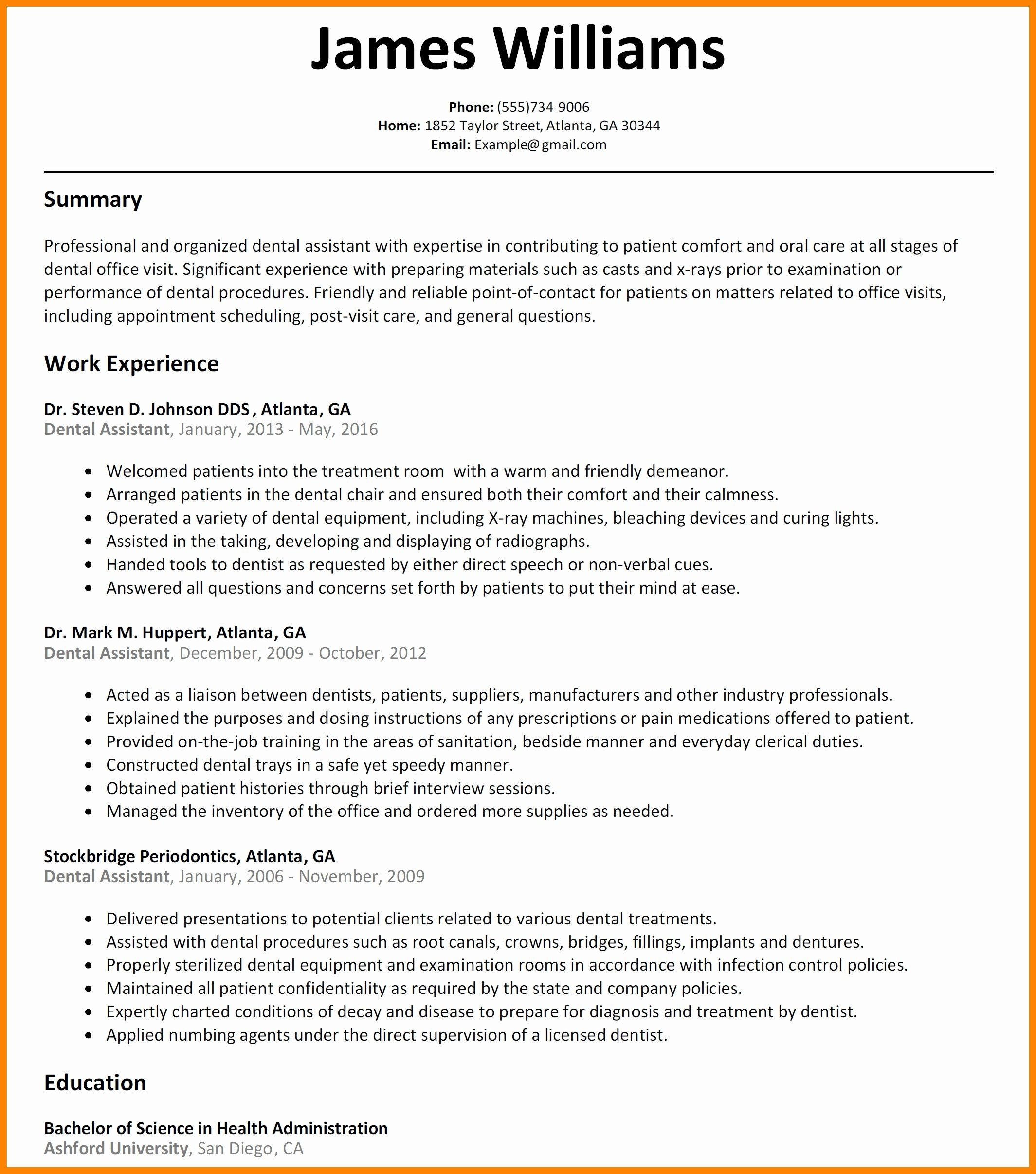 Resume for Dental Office Manager - Dental assistant Resume Templates Lovely Resume Dental assistant for