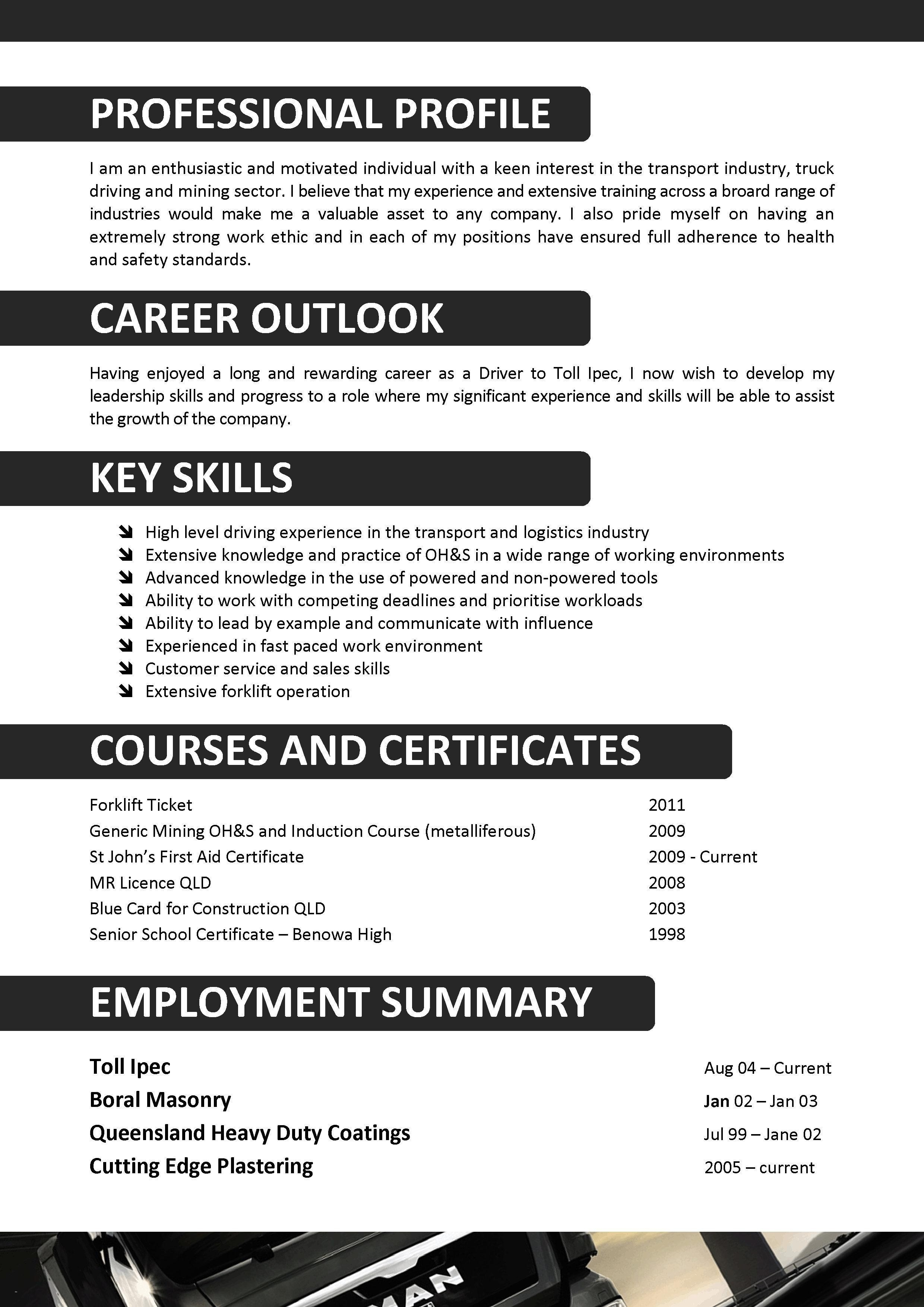 Resume for Driving Job - Delivery Driver Skills for Resume Inspirational Valid Truck Driver