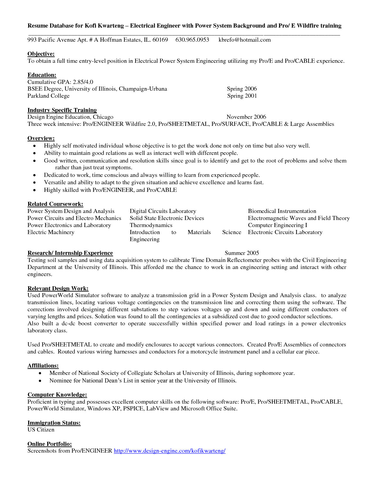 Resume for Entry Level Electrical Engineer - Electrical Engineer Resume Word format Sample Pdf Sample Resume for