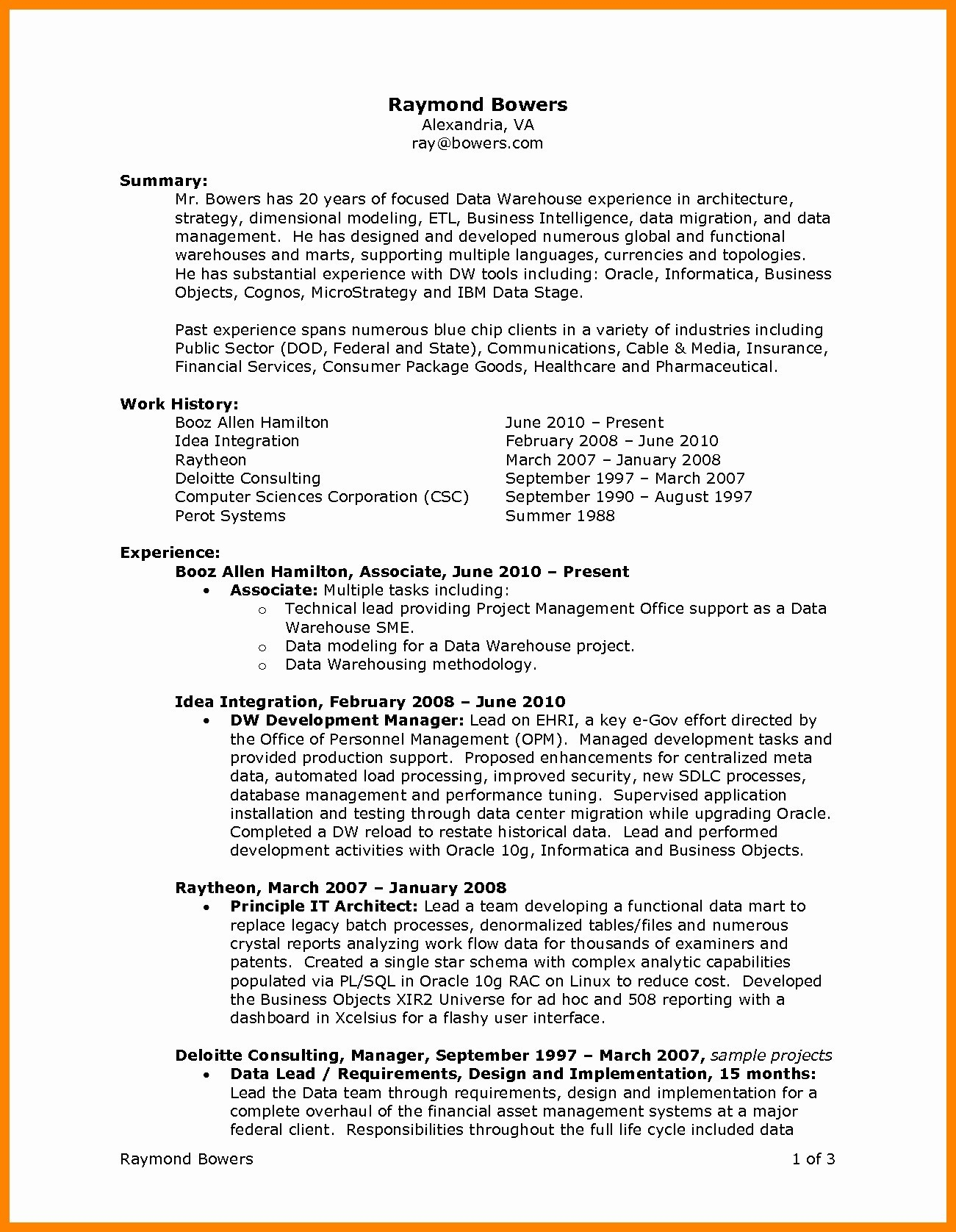 Resume for Internal Promotion - Resume for Internal Promotion