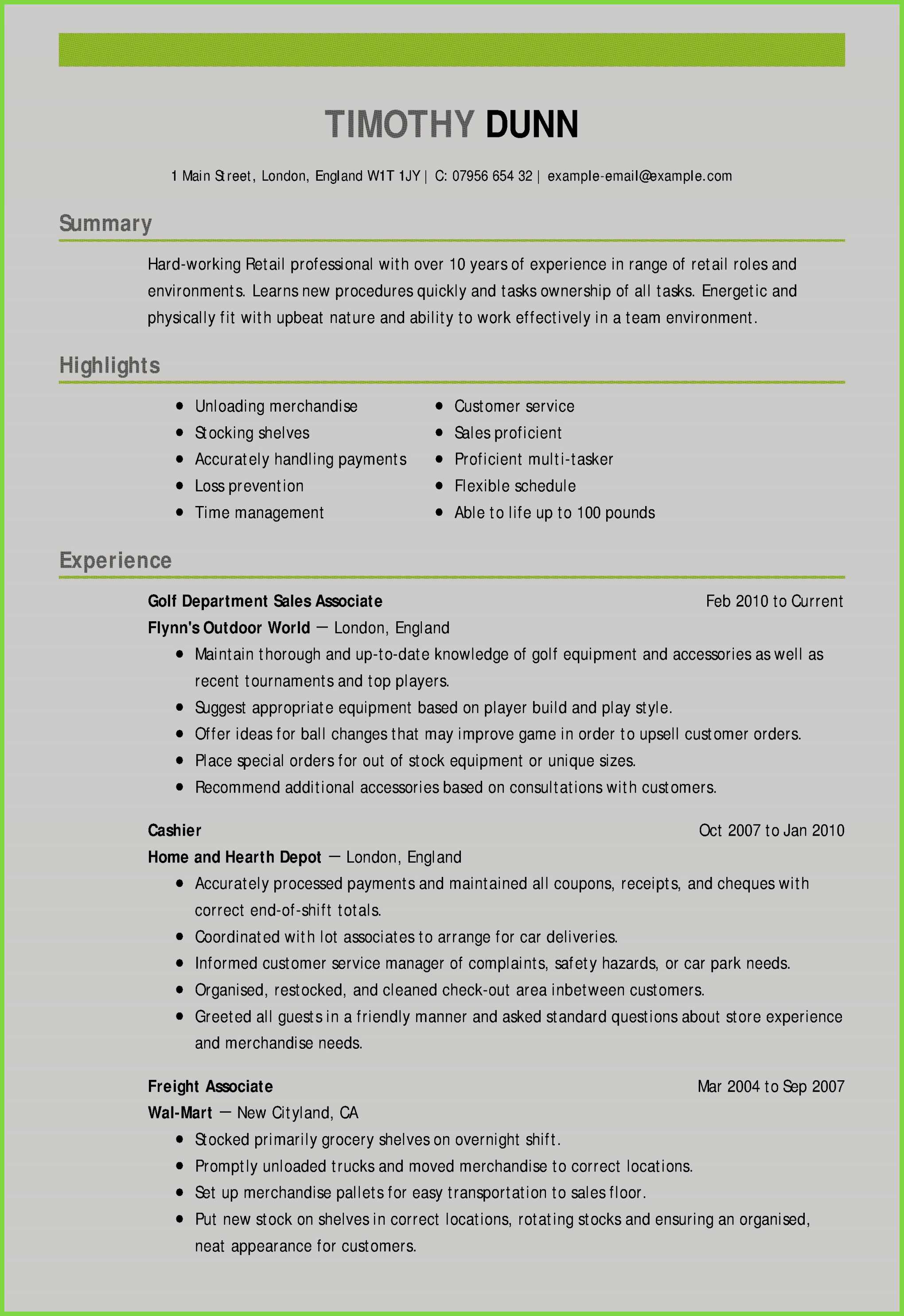 Resume for Marketing Job - Resume Templates Sales