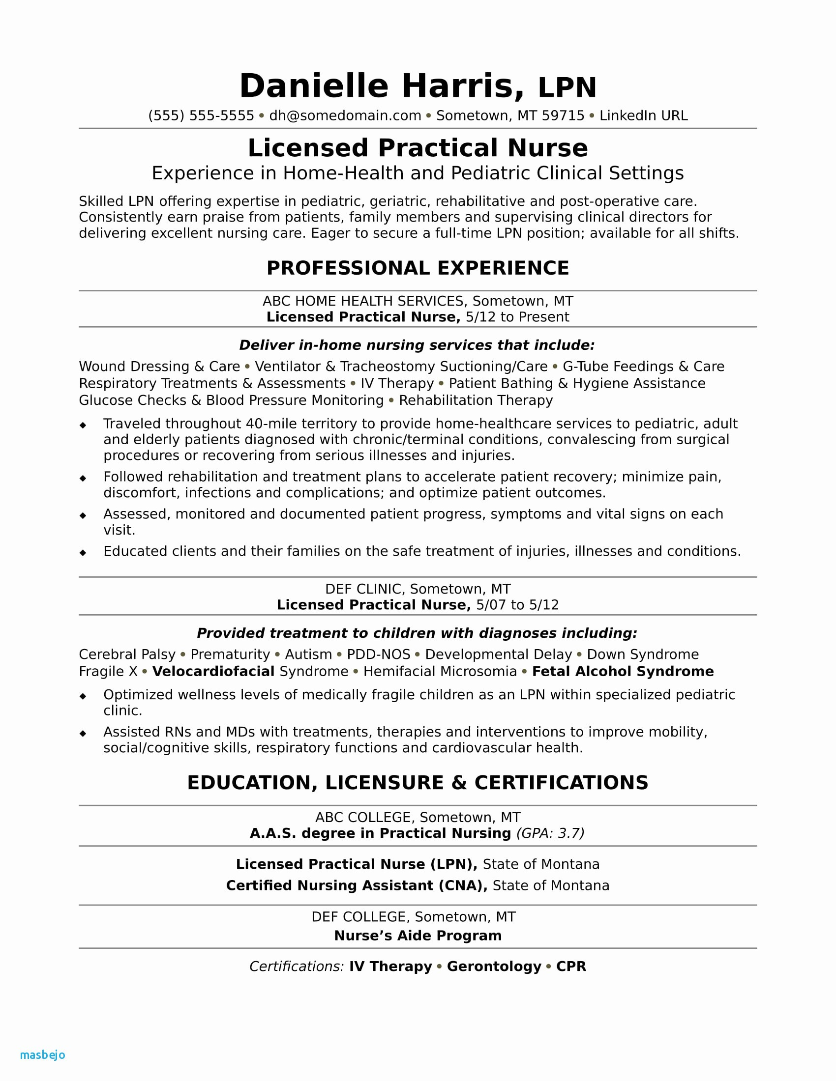Resume for Med Surg Nurse - Sample Resume for A New Registered Nurse Resume Resume Examples
