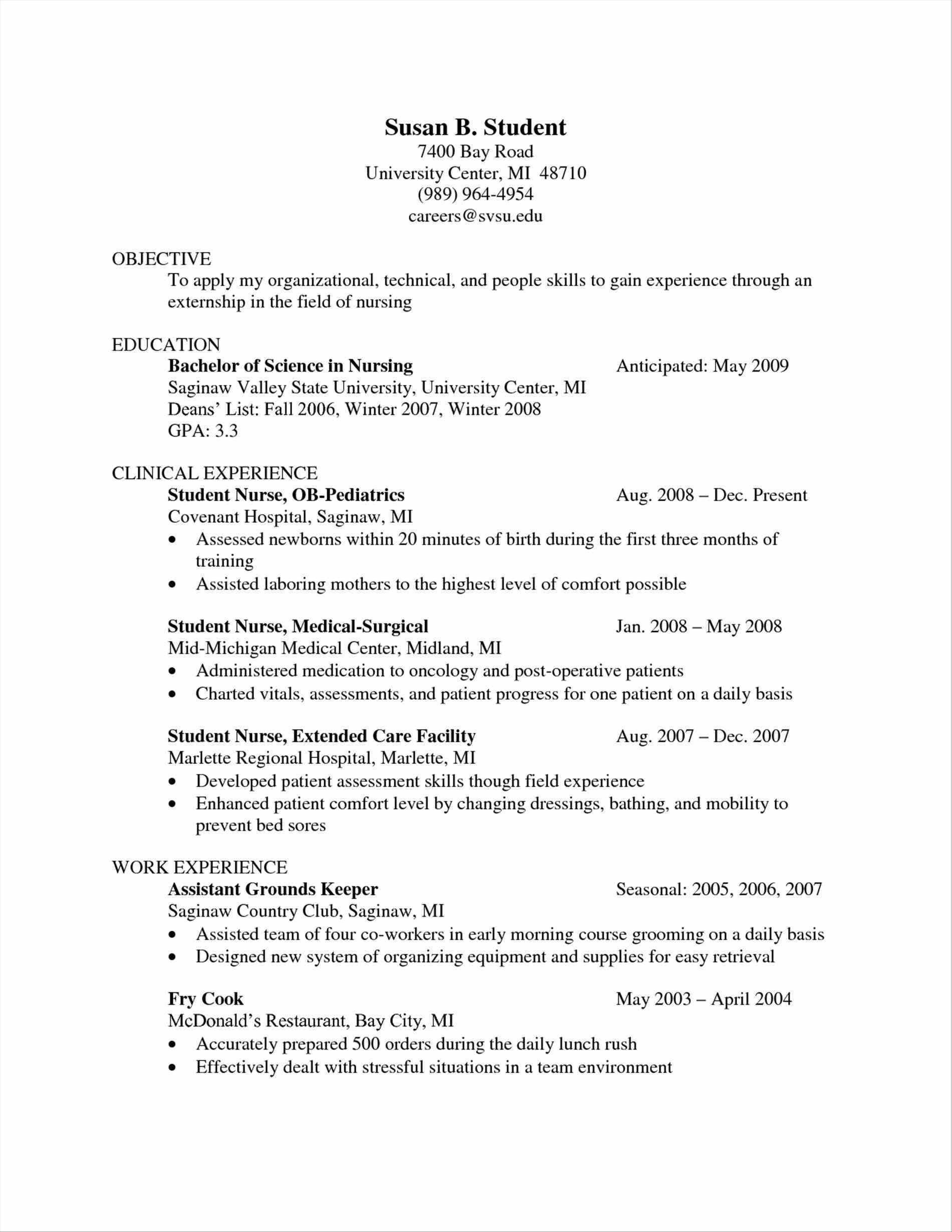 Resume for Med Surg Nurse - Nursing Skills Resume Awesome Nursing Resume Lovely Rn Bsn Resume