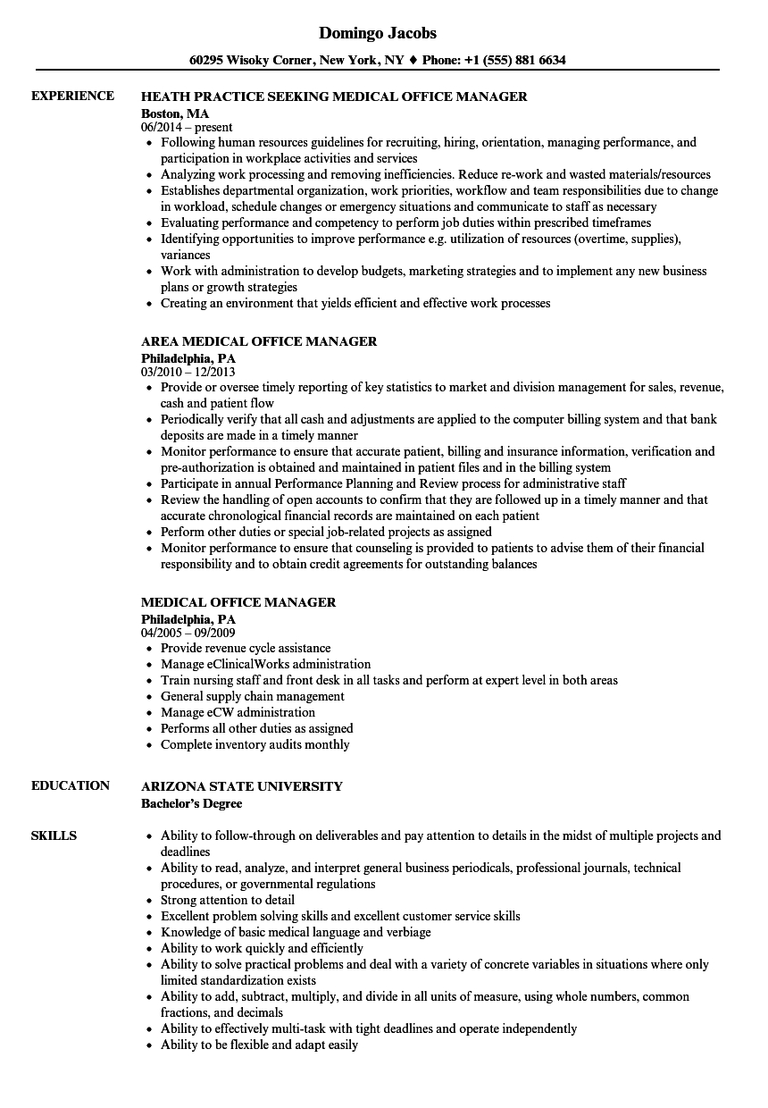 Resume for Medical Office Manager - Medical Resume Templates 2019