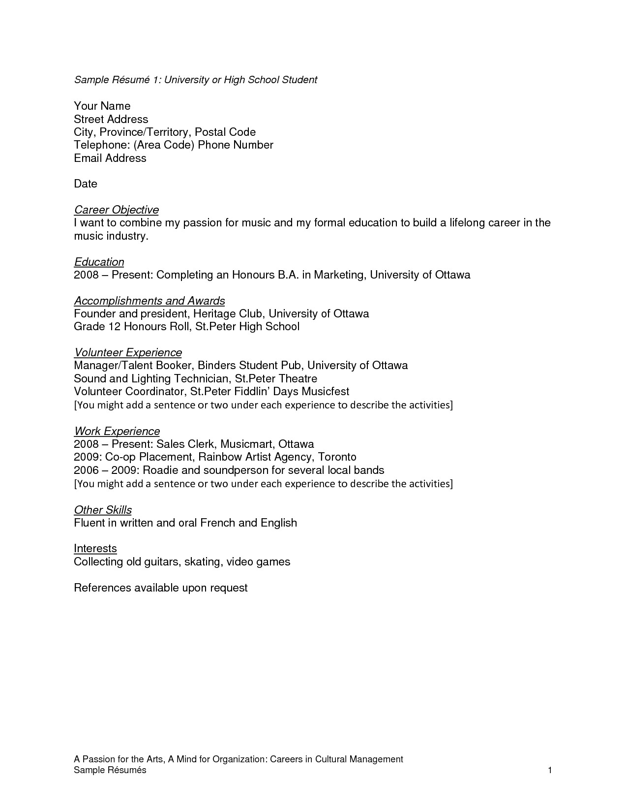 Resume for Music Industry - 17 Music Industry Resume