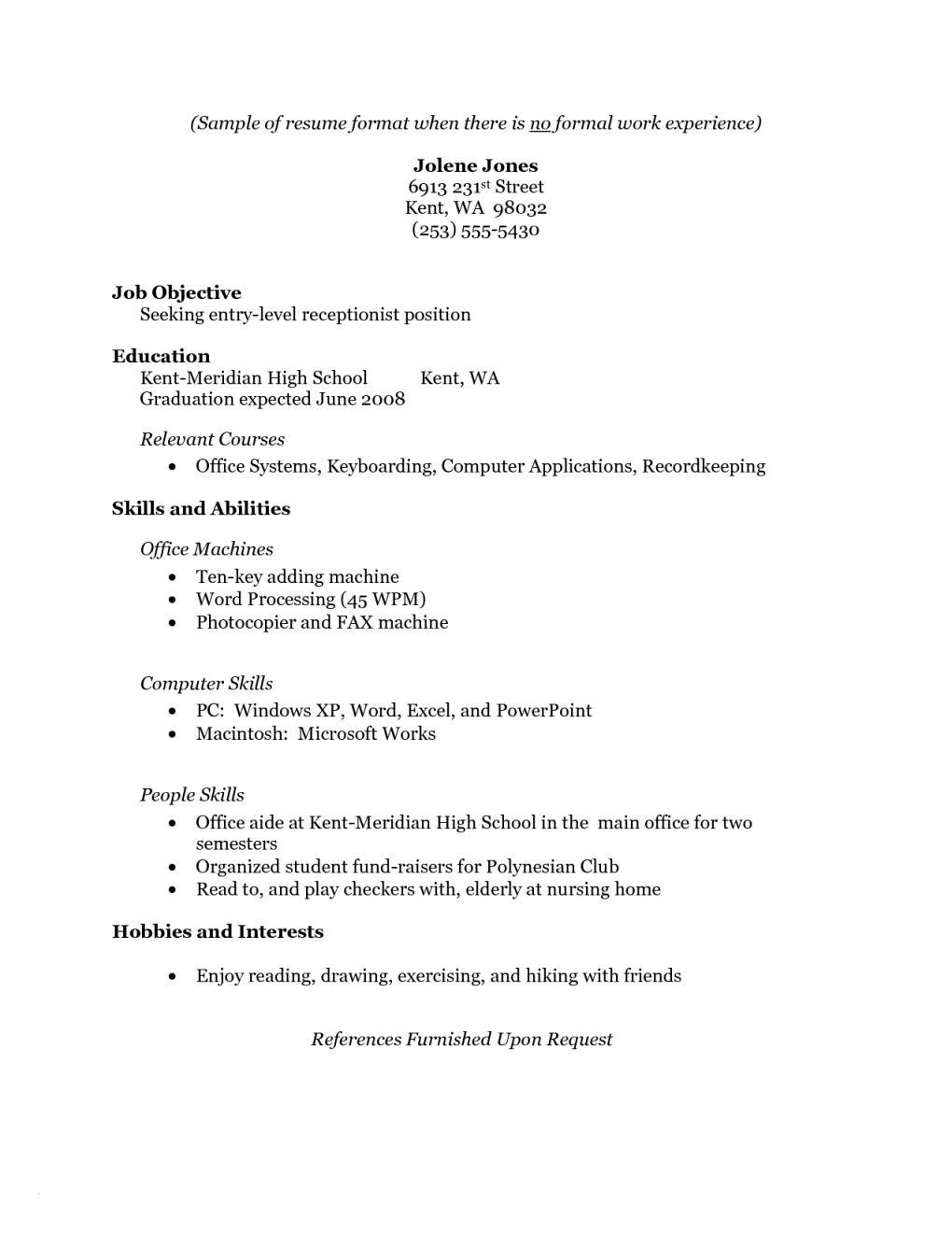 Resume for Nursing Student with No Experience - Resume for High School Students with No Experience Template Fresh