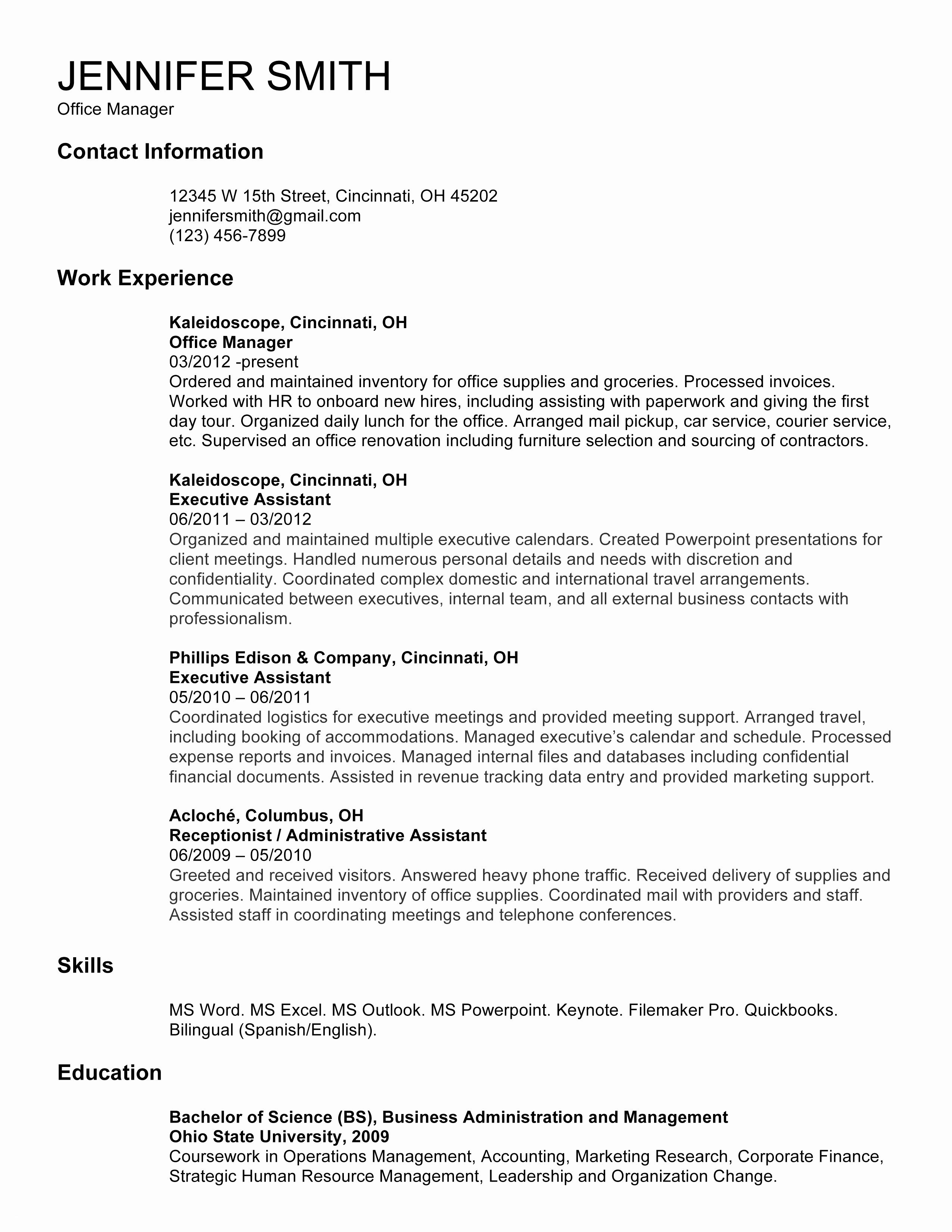 Resume for Office Job - How to Make A Resume for A Receptionist Job Valid Fresh Reception