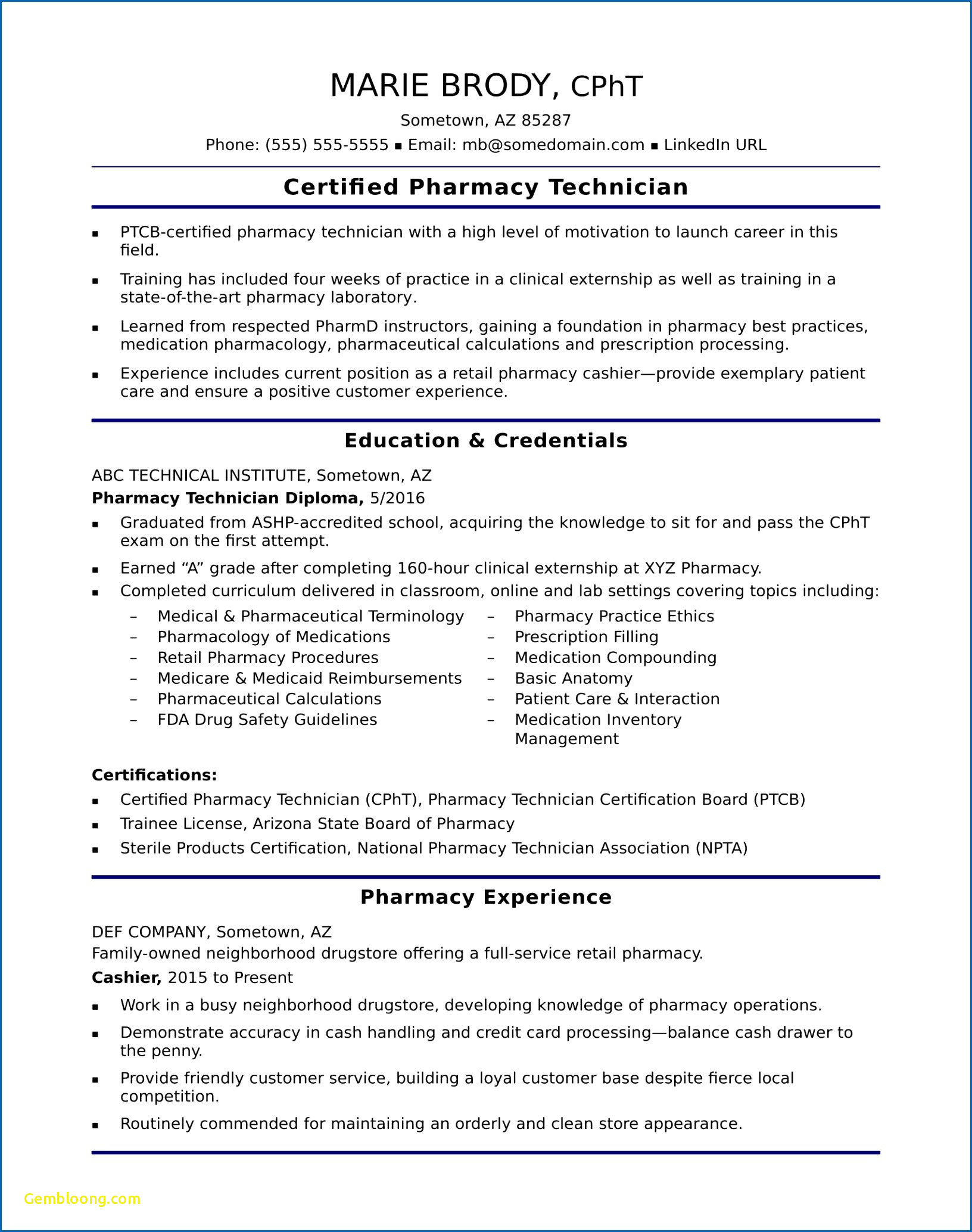 Resume for Pharmacy Technician - Luxury Pharmacy Tech Resume