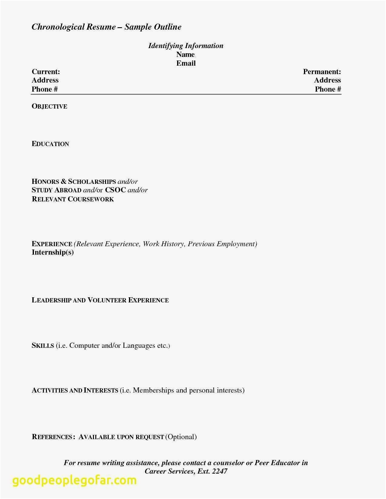 Resume for Scholarships Template - Sample Resume for Recent High School Graduate Reference Unique