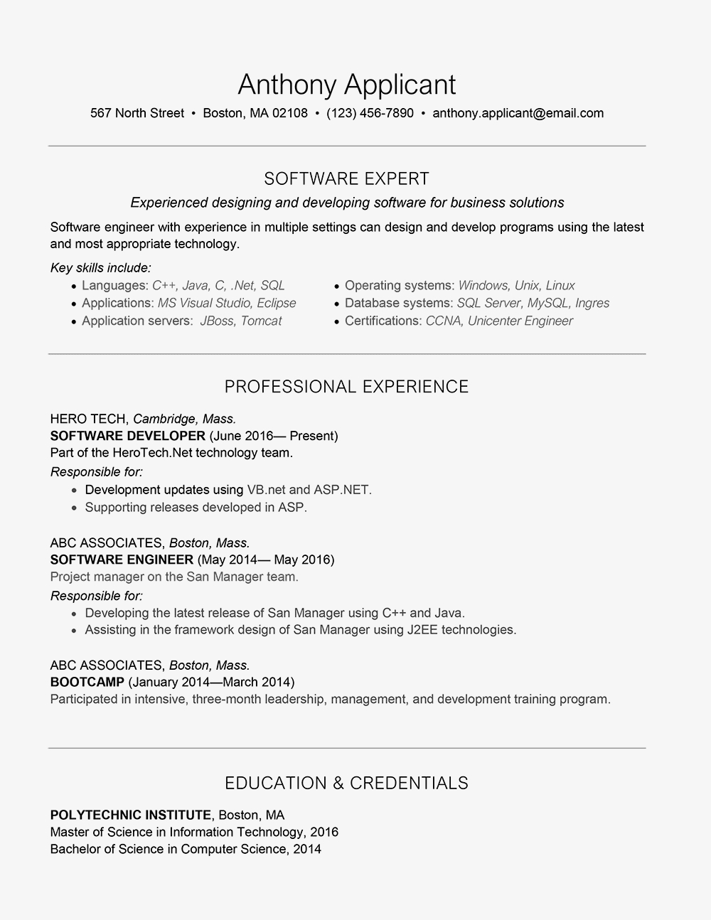 Resume for software Developer Experienced - software Developer Cover Letter and Resume Example